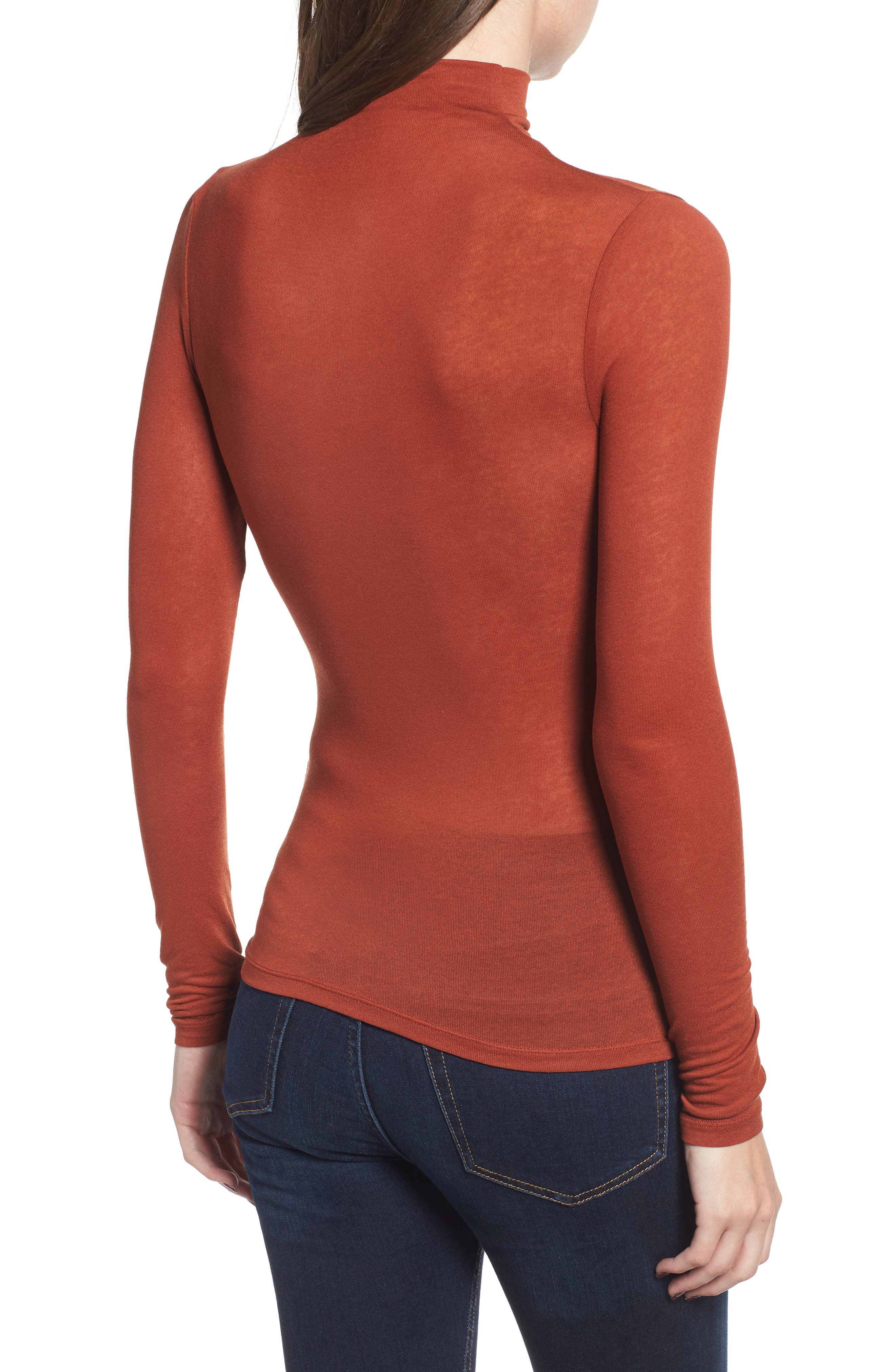 Lightweight Long Sleeve Funnel Neck Top,                             Alternate thumbnail 3, color,                             BROWN SPICE