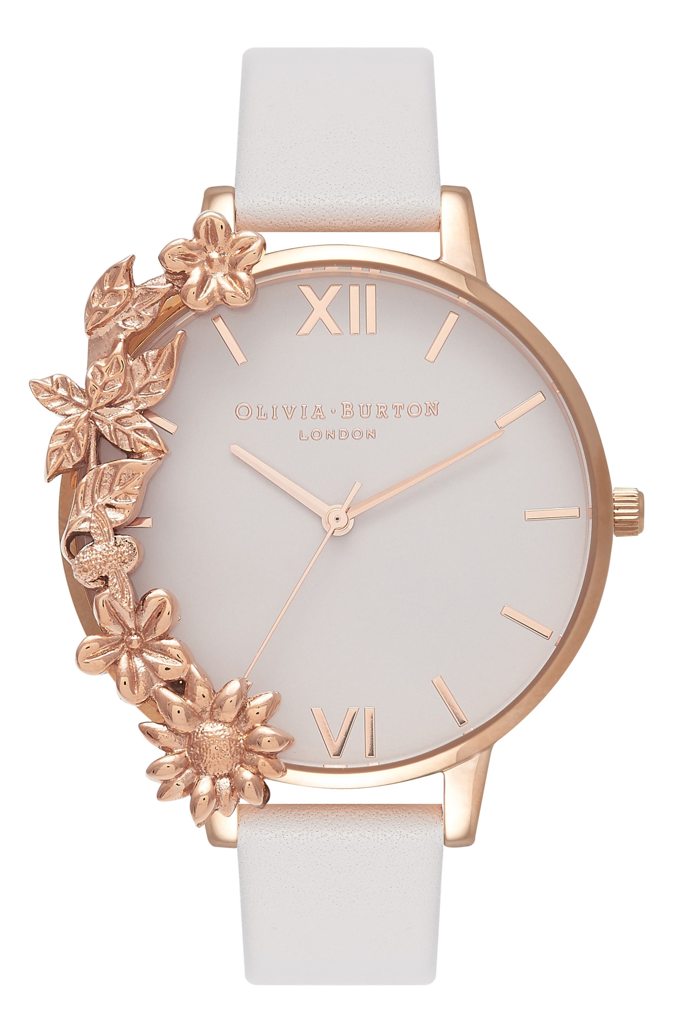 Case Cuff Leather Strap Watch, 38mm,                         Main,                         color, BLUSH/ WHITE/ ROSE GOLD