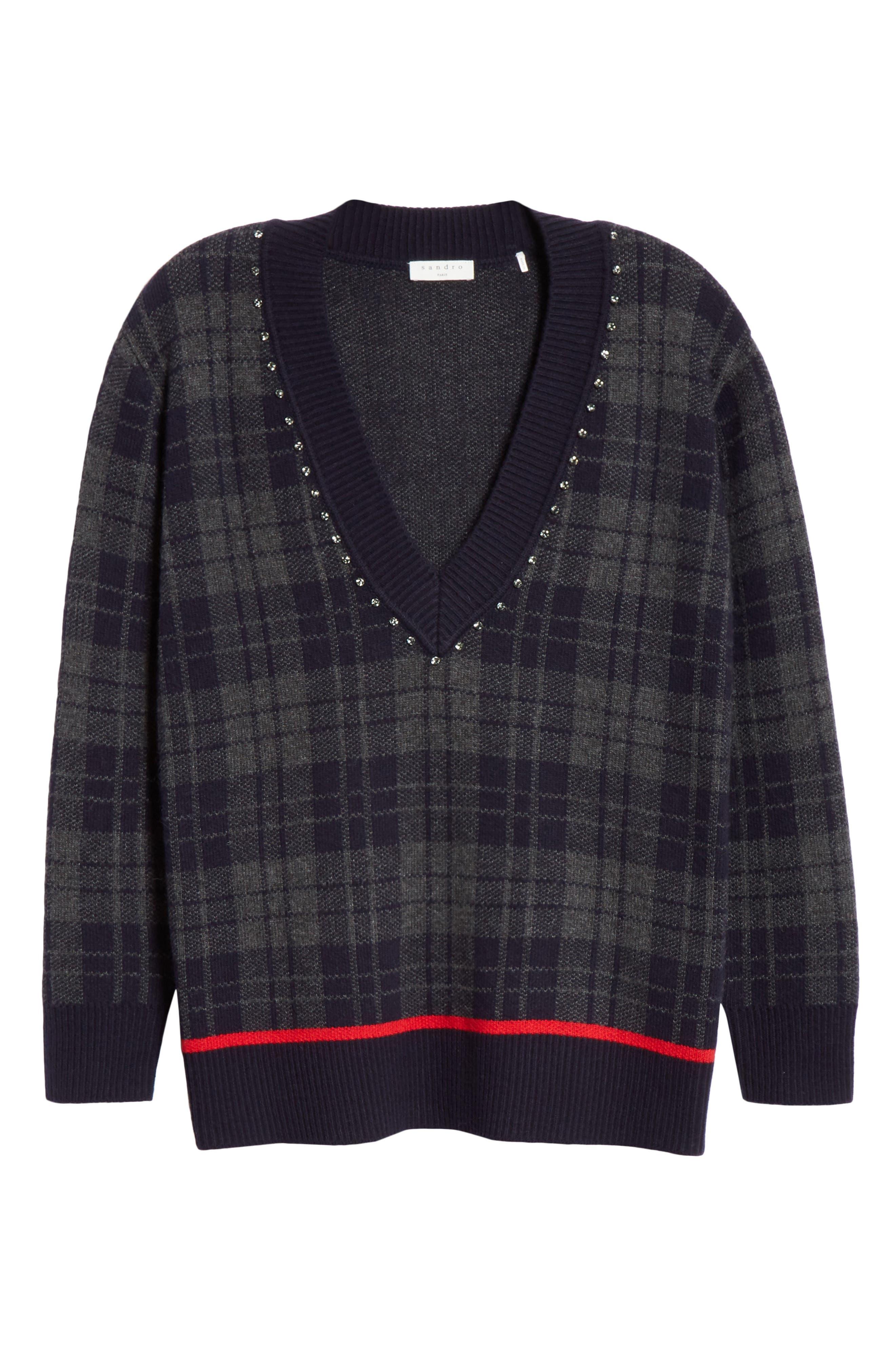 Embellished Plaid Sweater,                             Alternate thumbnail 6, color,                             405