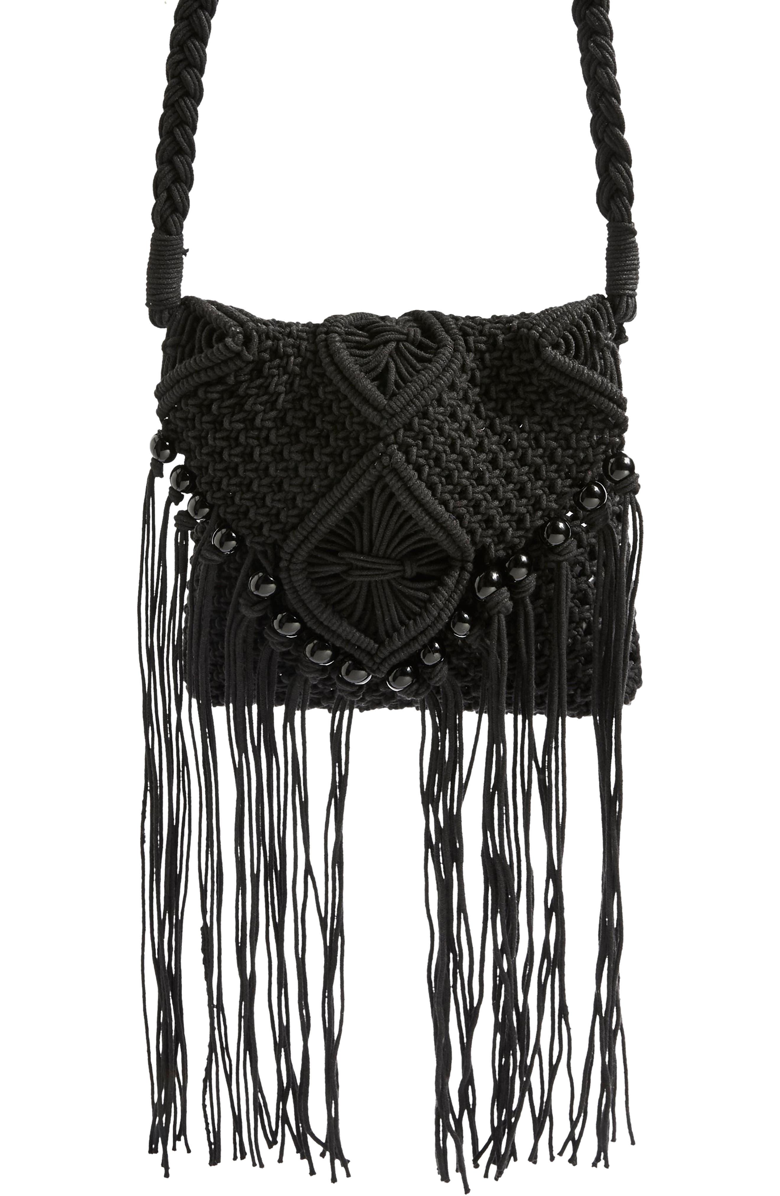Macrame Crossbody Bag,                         Main,                         color, BLACK