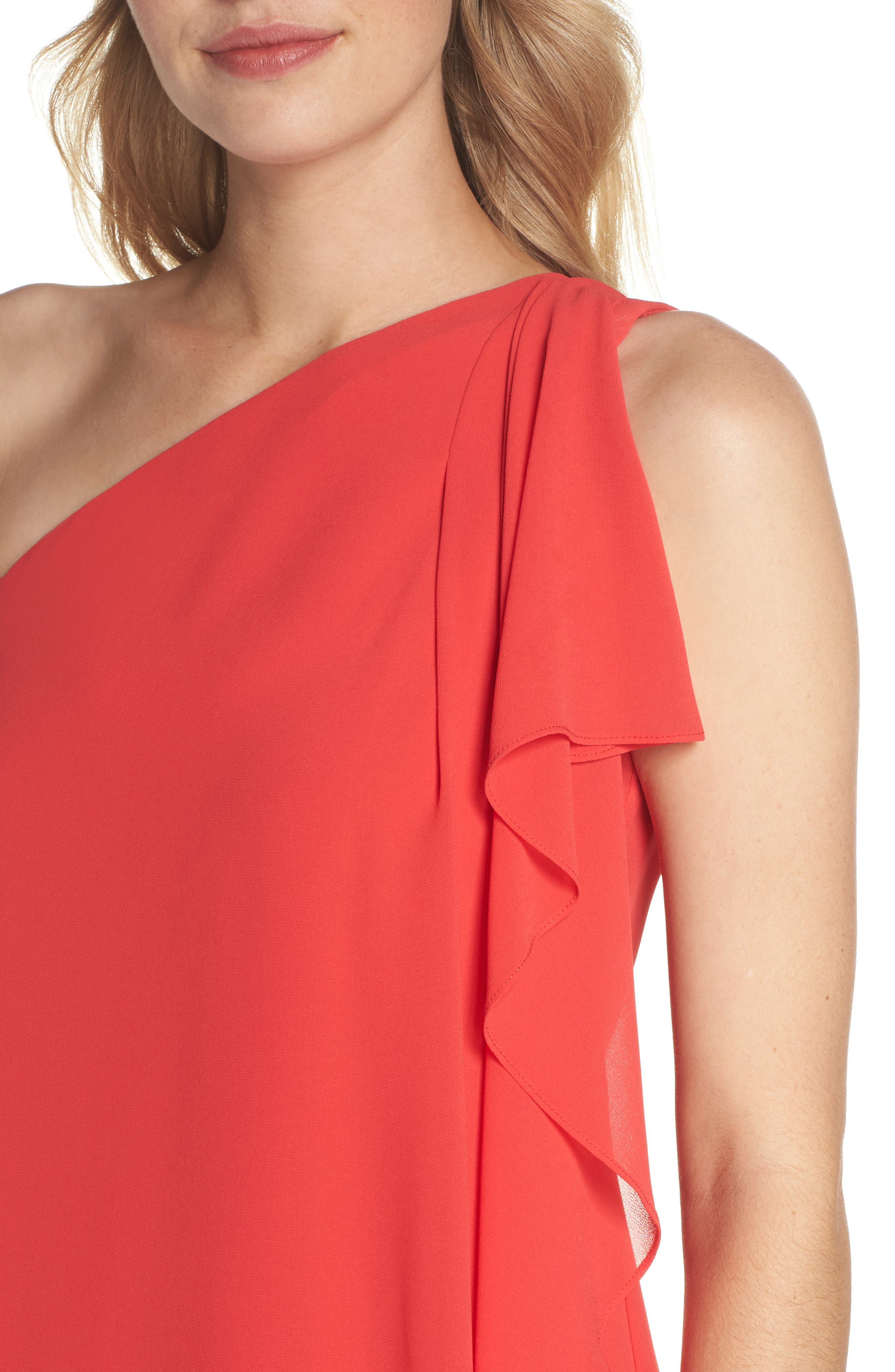 Soufflé One-Shoulder Chiffon Shift Dress,                             Alternate thumbnail 4, color,                             652