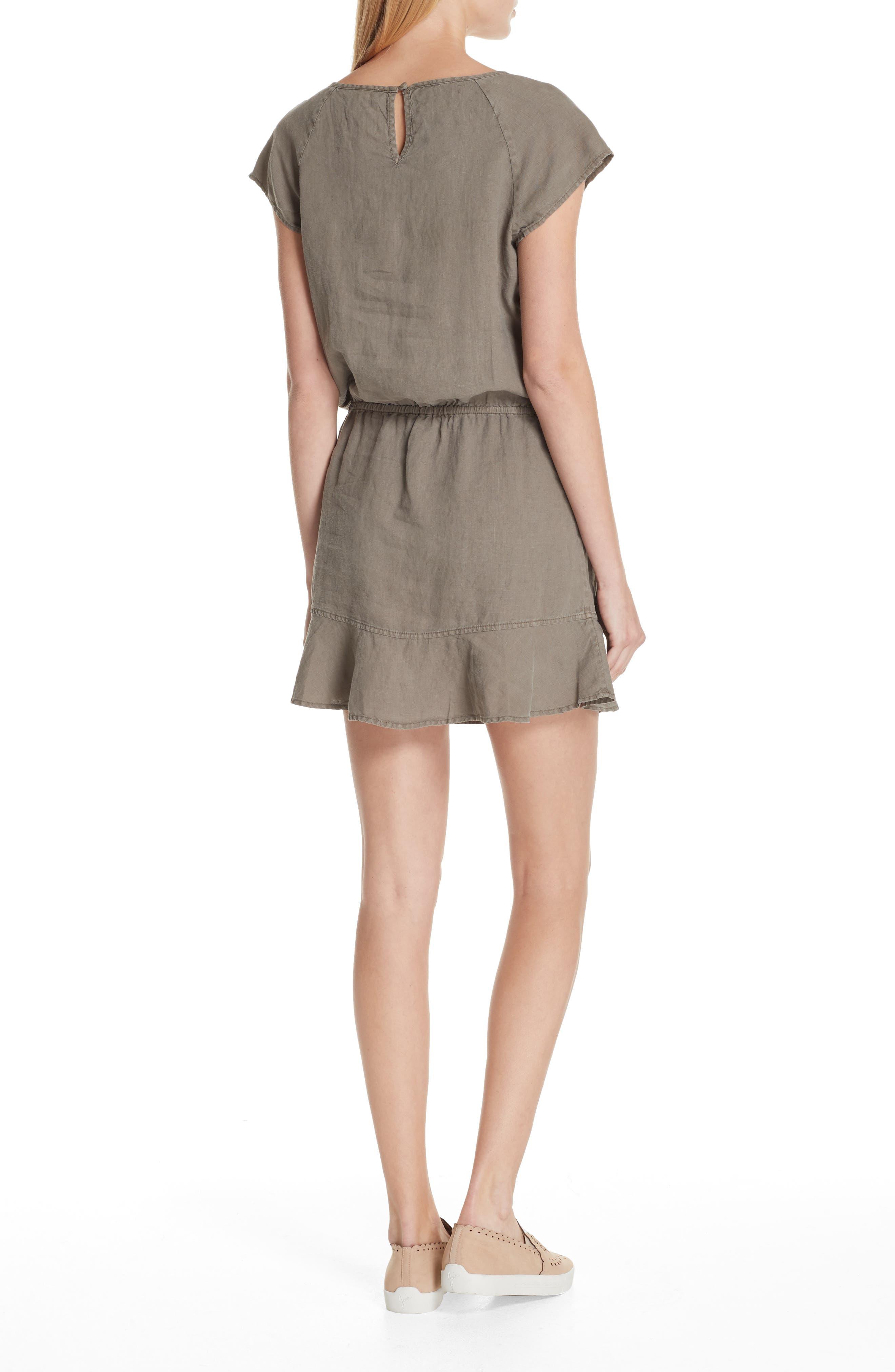 Quora Ruffle Linen Dress,                             Alternate thumbnail 4, color,
