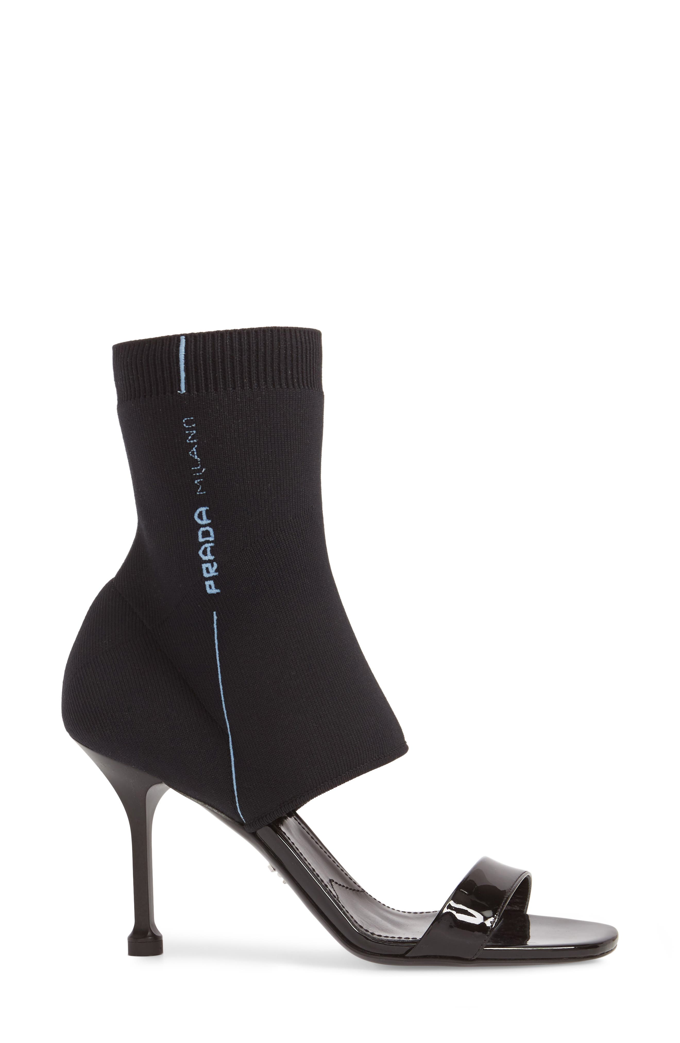 PRADA,                             Sock Shaft Sandal,                             Alternate thumbnail 3, color,                             001
