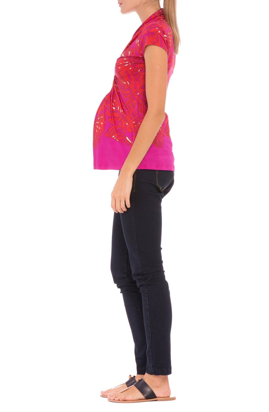 'Scarlet' Cinched Maternity Top,                             Alternate thumbnail 4, color,                             647