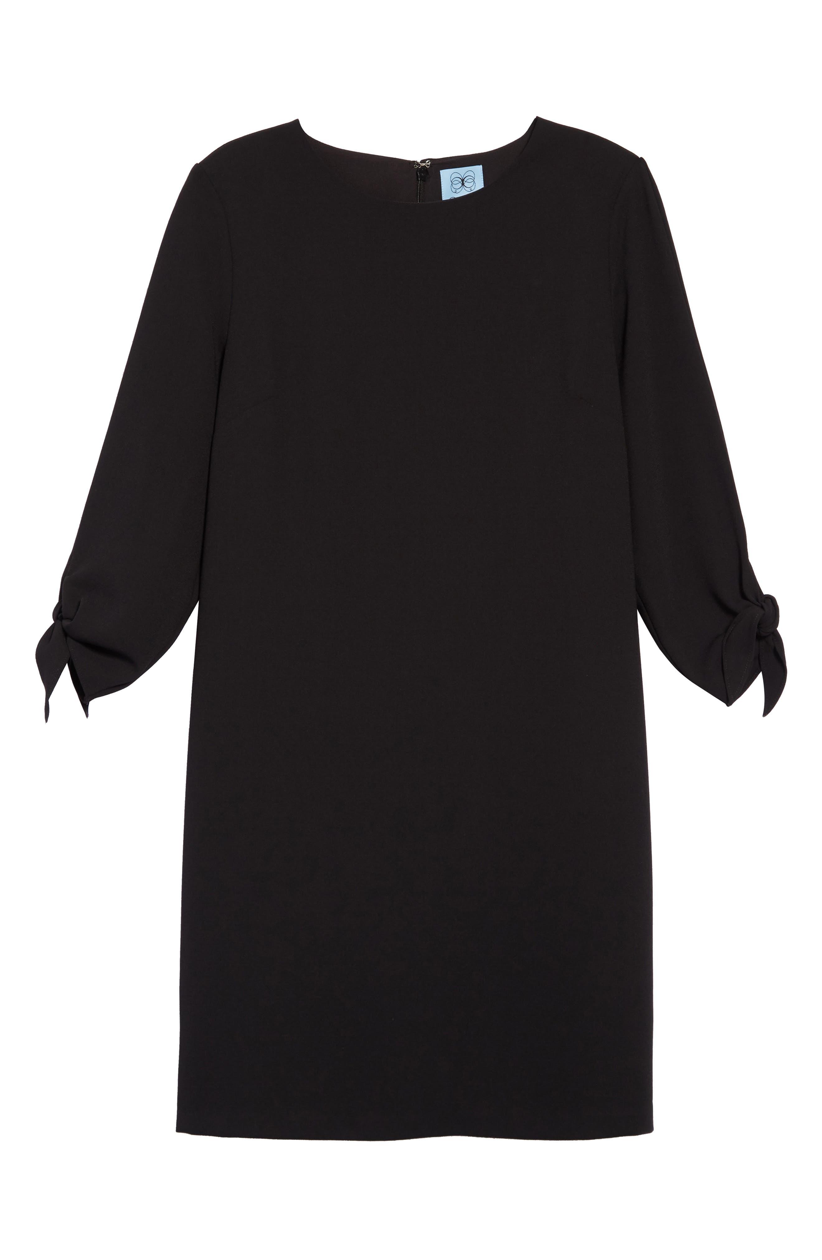Tie Sleeve Shift Dress,                             Alternate thumbnail 8, color,                             RICH BLACK