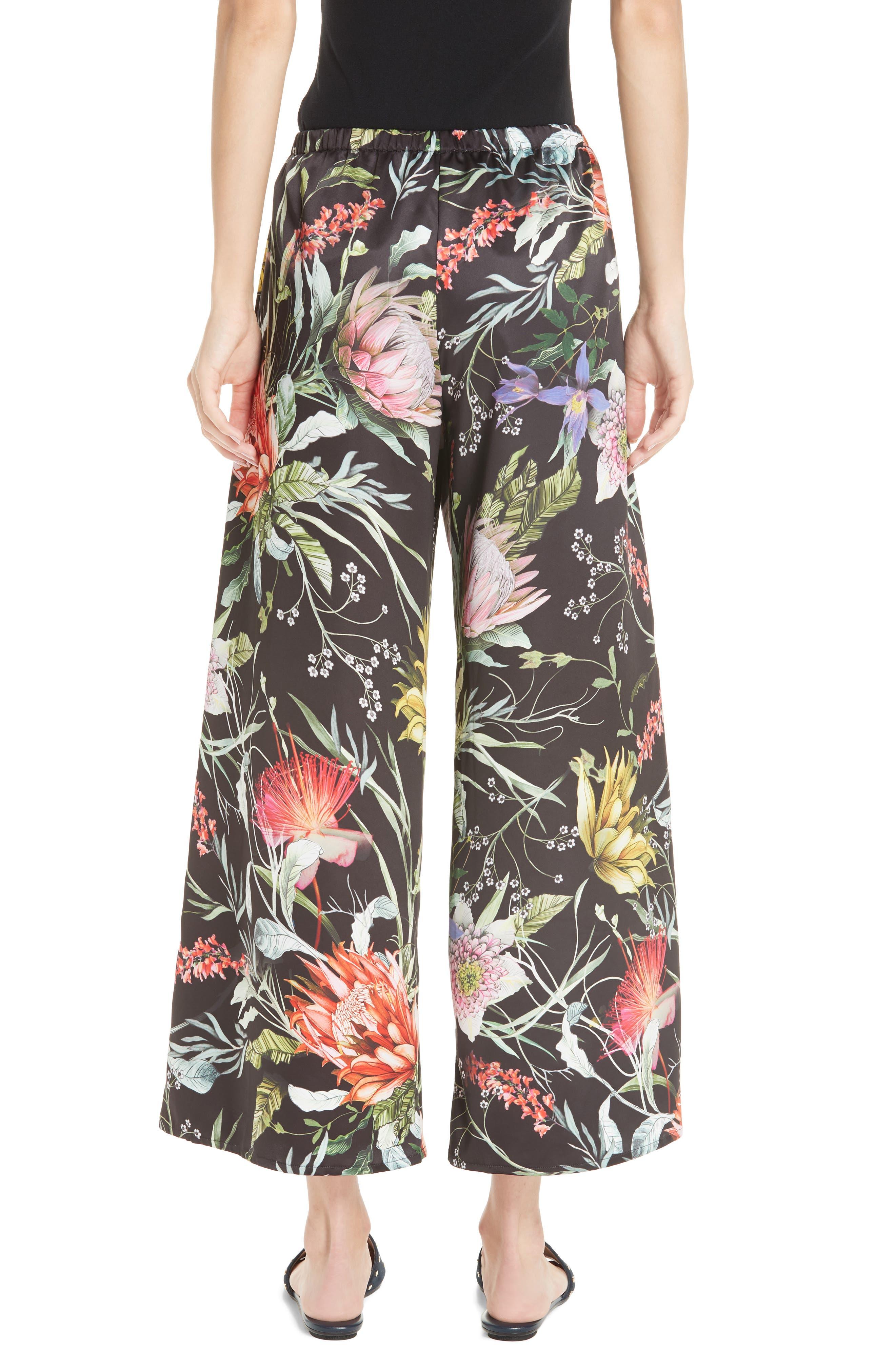 Floral Crop Wide Leg Pants,                             Alternate thumbnail 2, color,                             NERO