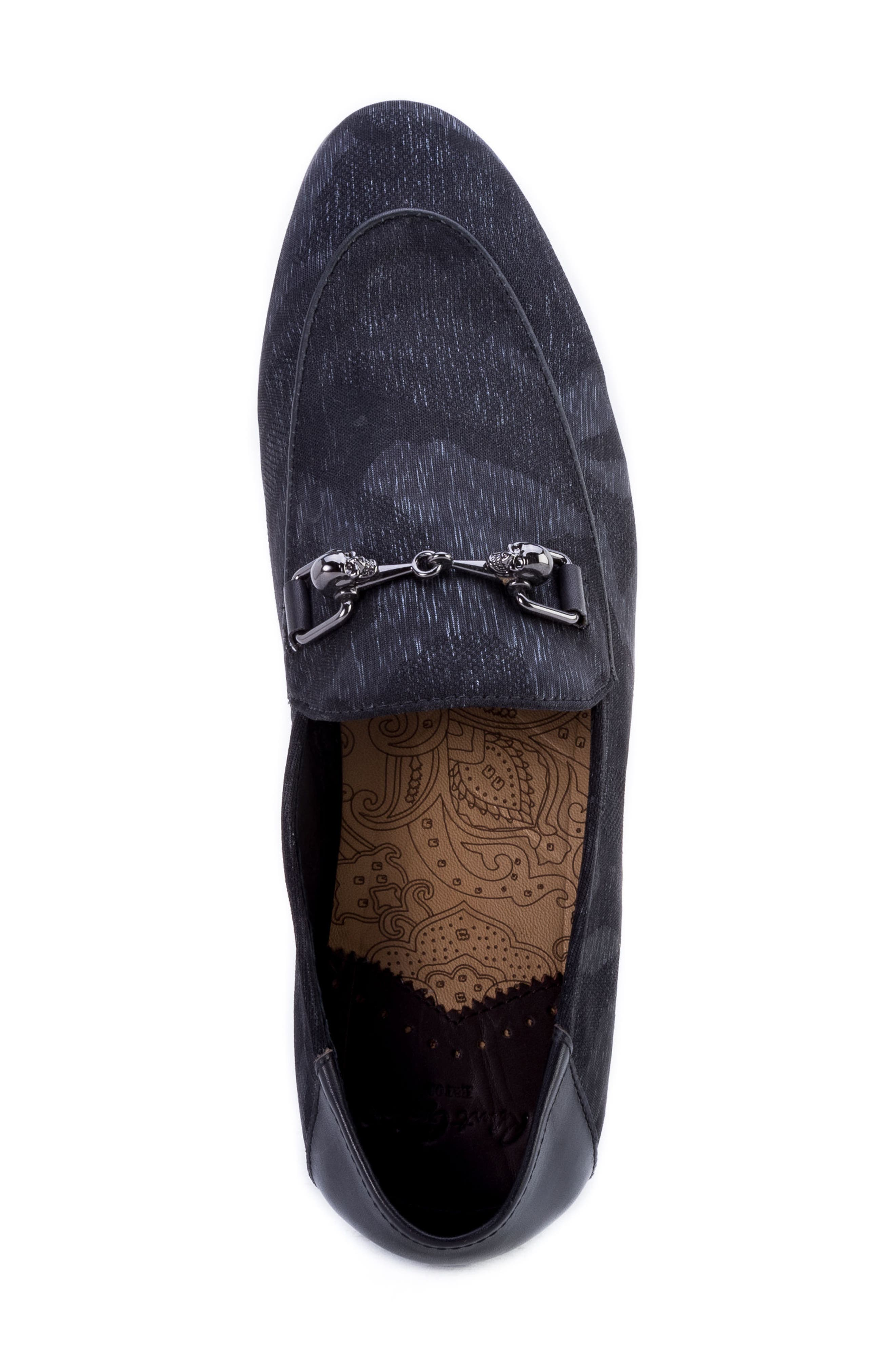 Barton Camouflage Bit Loafer,                             Alternate thumbnail 5, color,                             GREY FABRIC