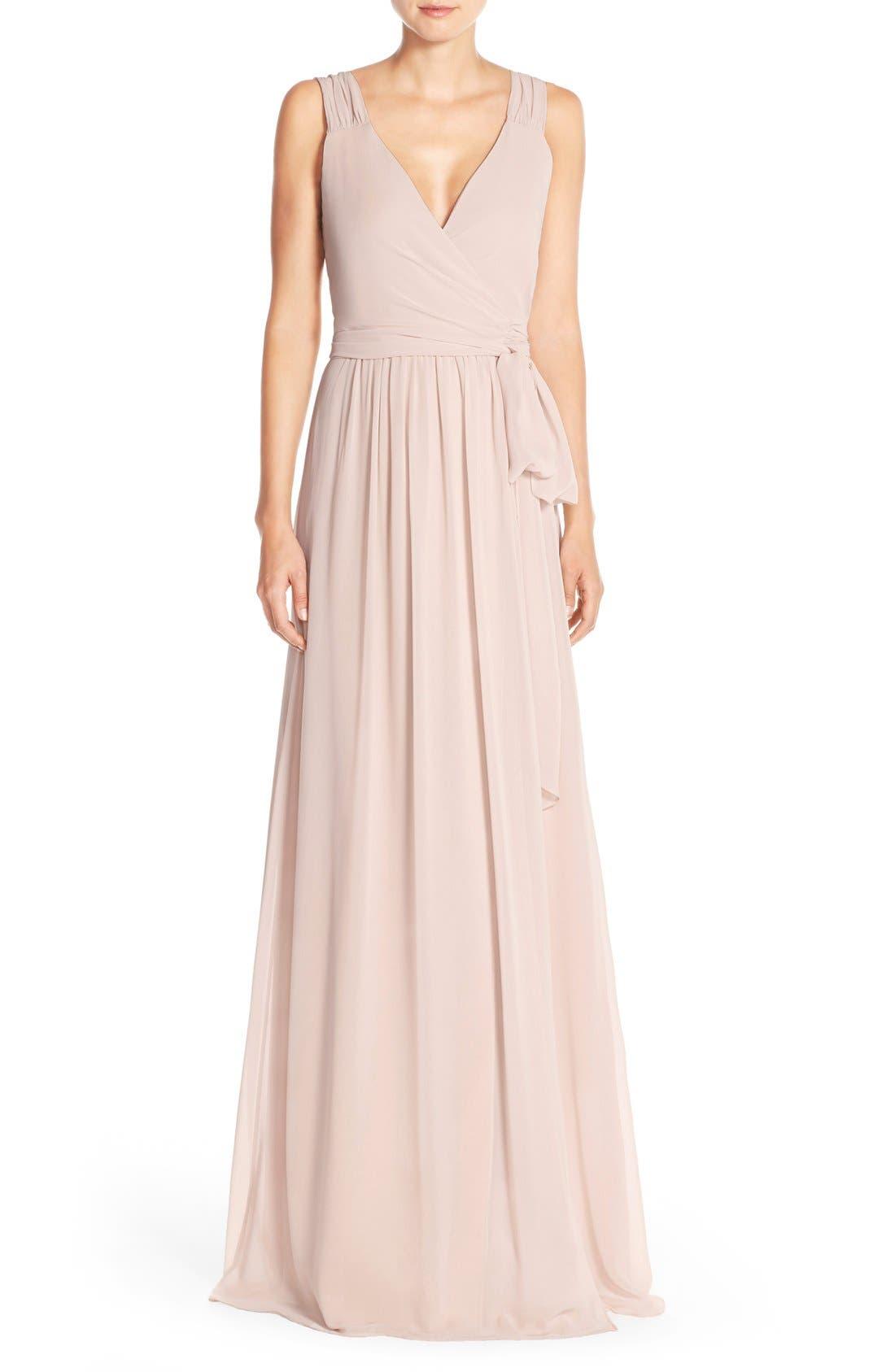 Newbury Gathered Sleeve Chiffon Wrap Gown,                             Main thumbnail 4, color,