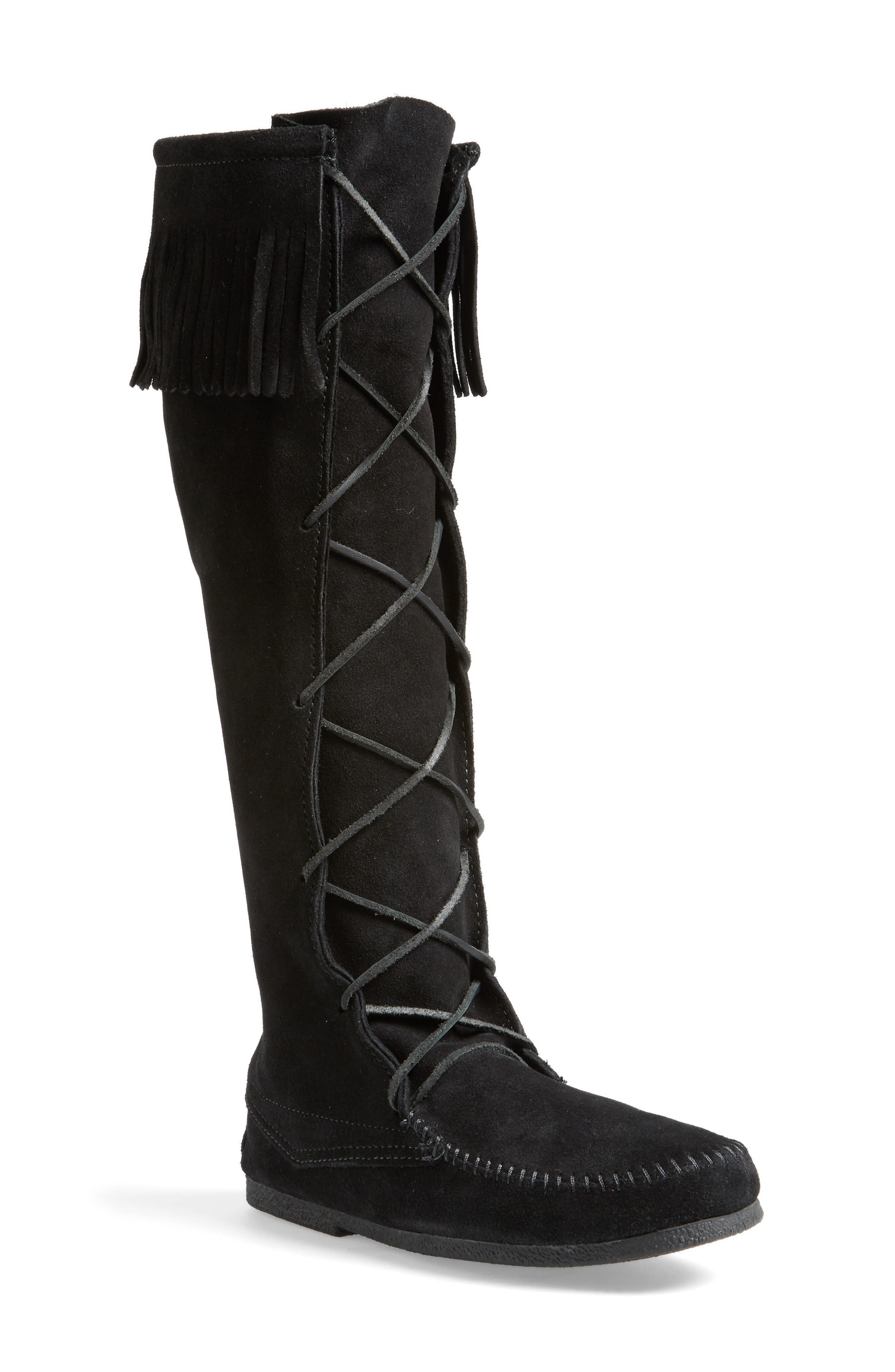 Knee High Moccasin Boot,                         Main,                         color, BLACK SUEDE