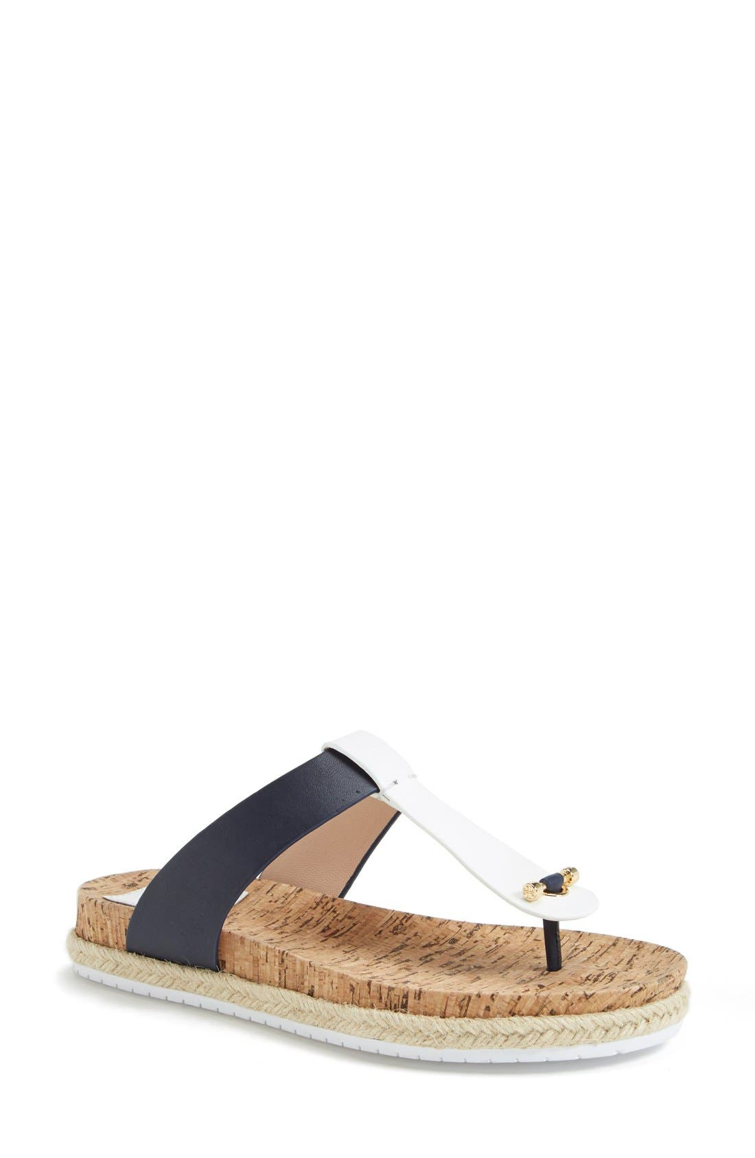 Leather & Cork Thong Sandal,                             Main thumbnail 1, color,                             462