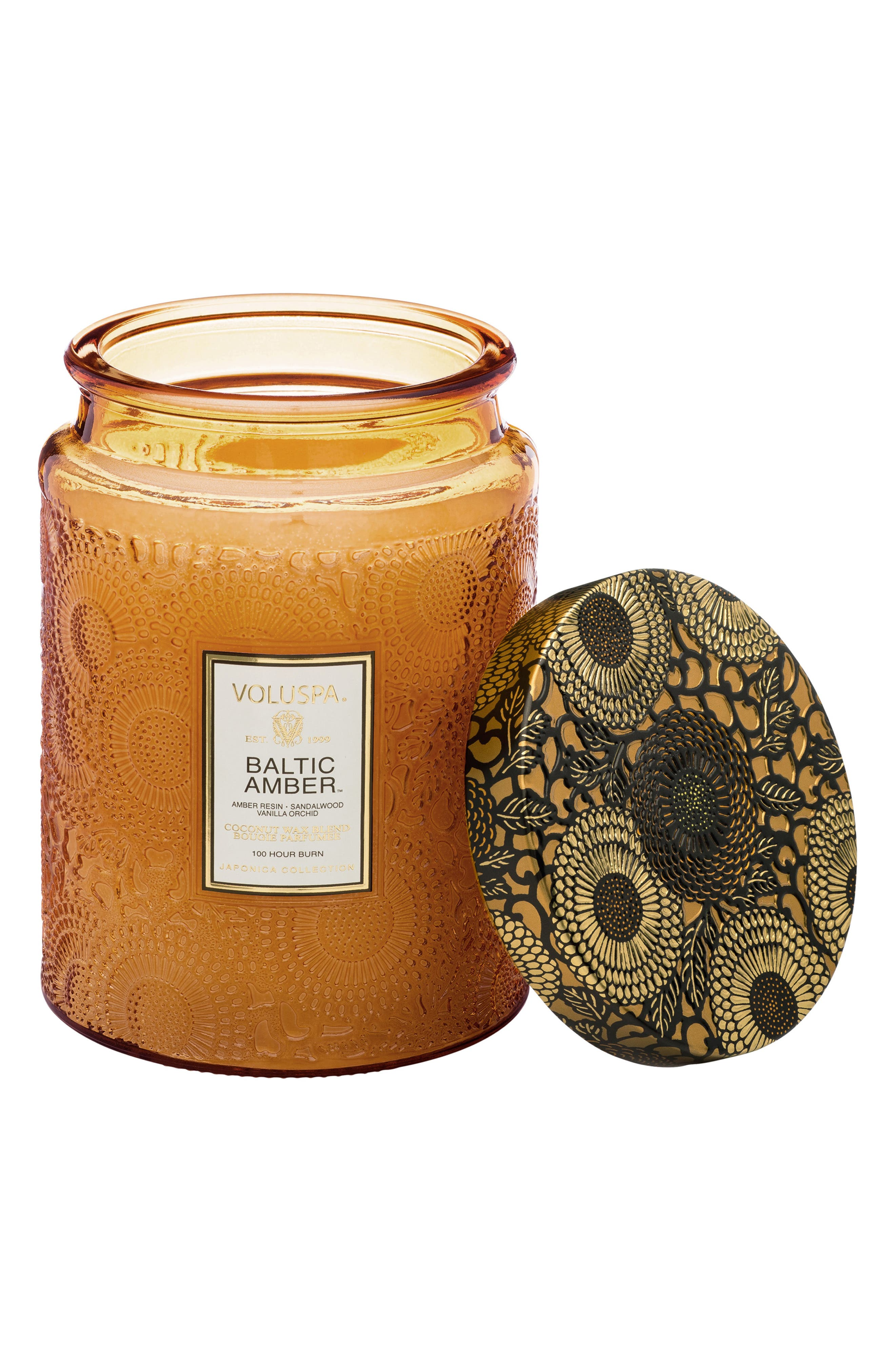 VOLUSPA,                             Japonica Baltic Amber Large Embossed Glass Jar Candle,                             Alternate thumbnail 2, color,                             NO COLOR