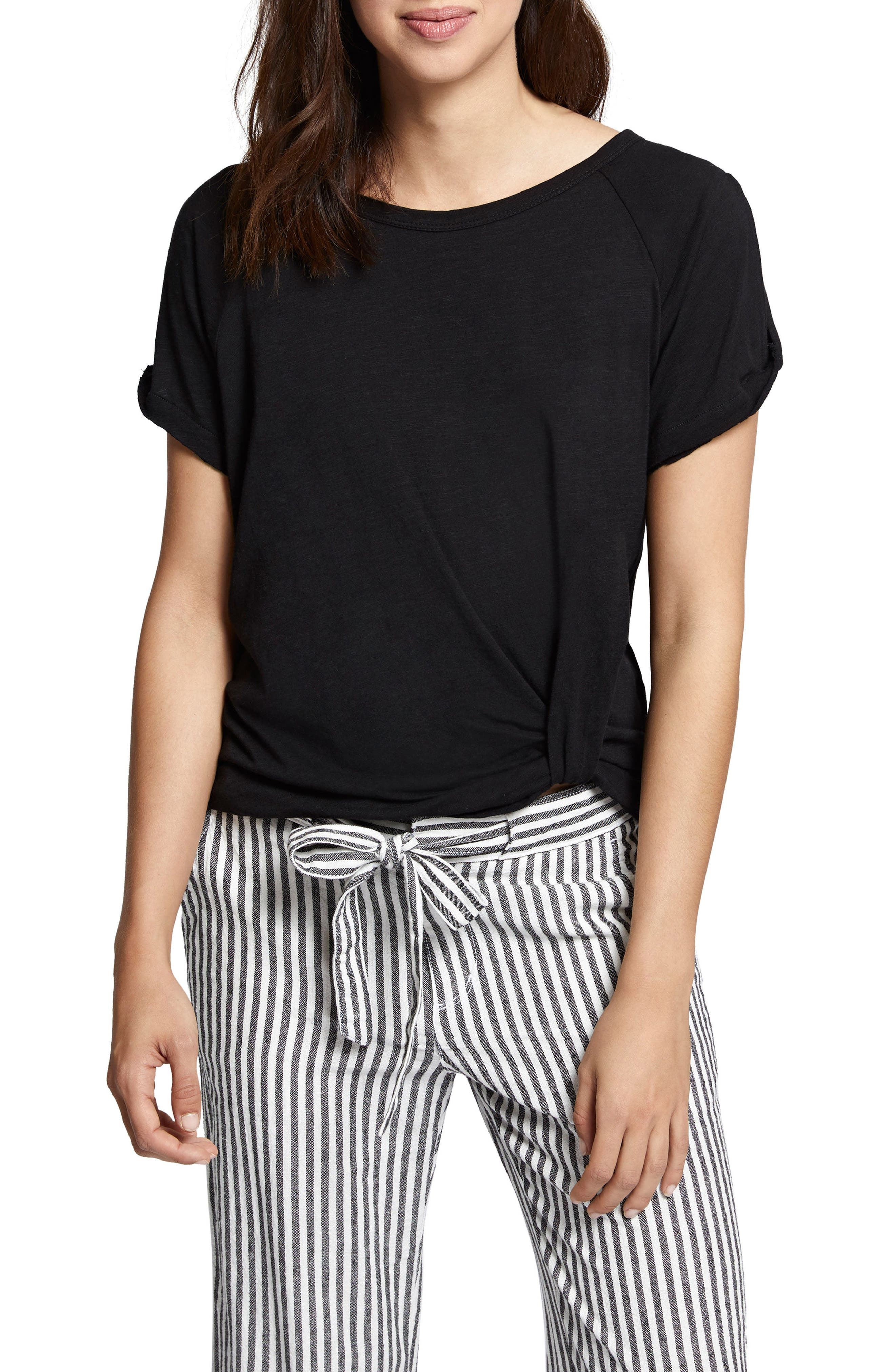 Adrienne Side Twist Cotton Blend Top,                         Main,                         color, 001