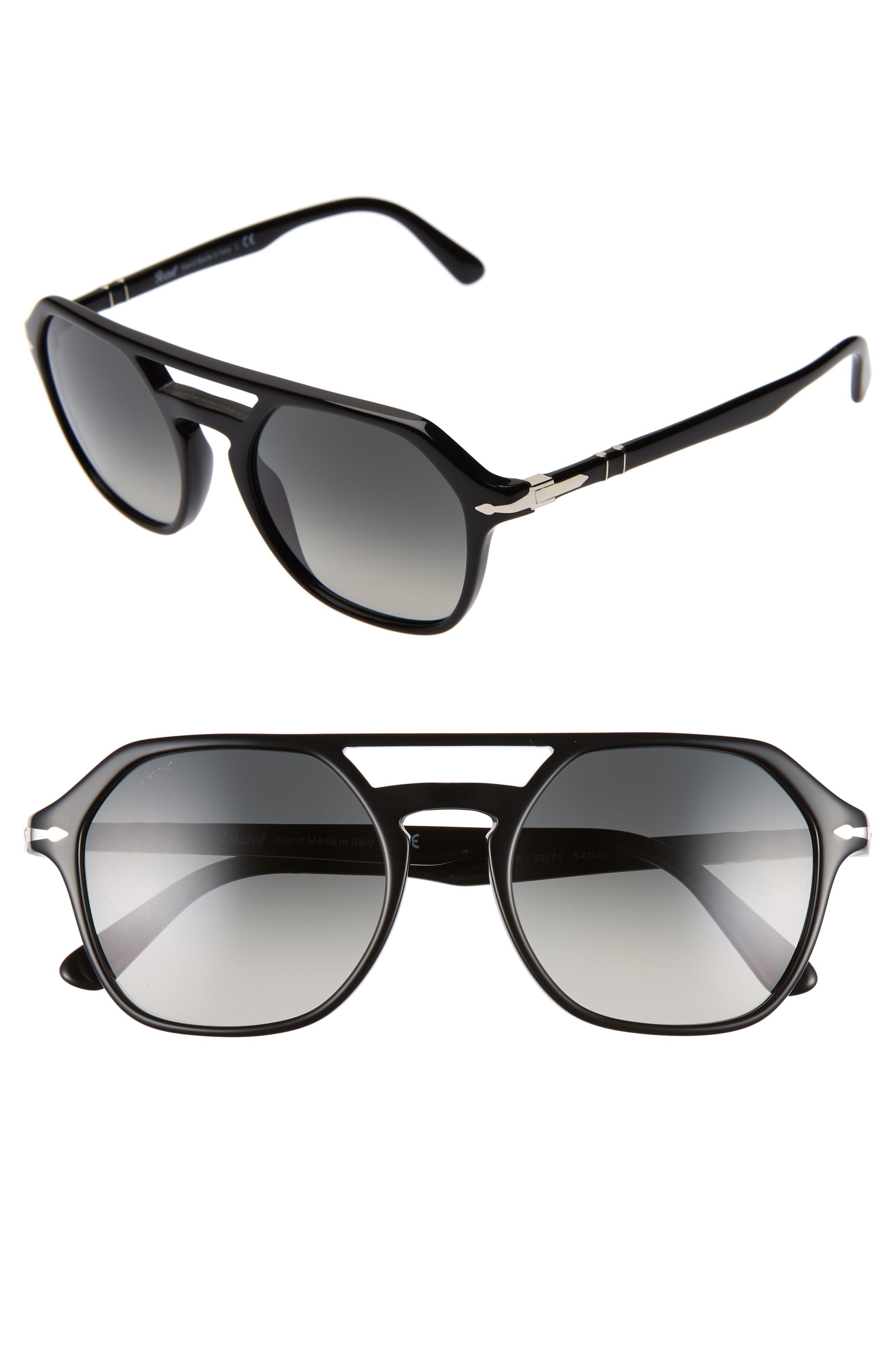 PERSOL,                             54mm Navigator Sunglasses,                             Main thumbnail 1, color,                             BLACK/ GREY GRADIENT