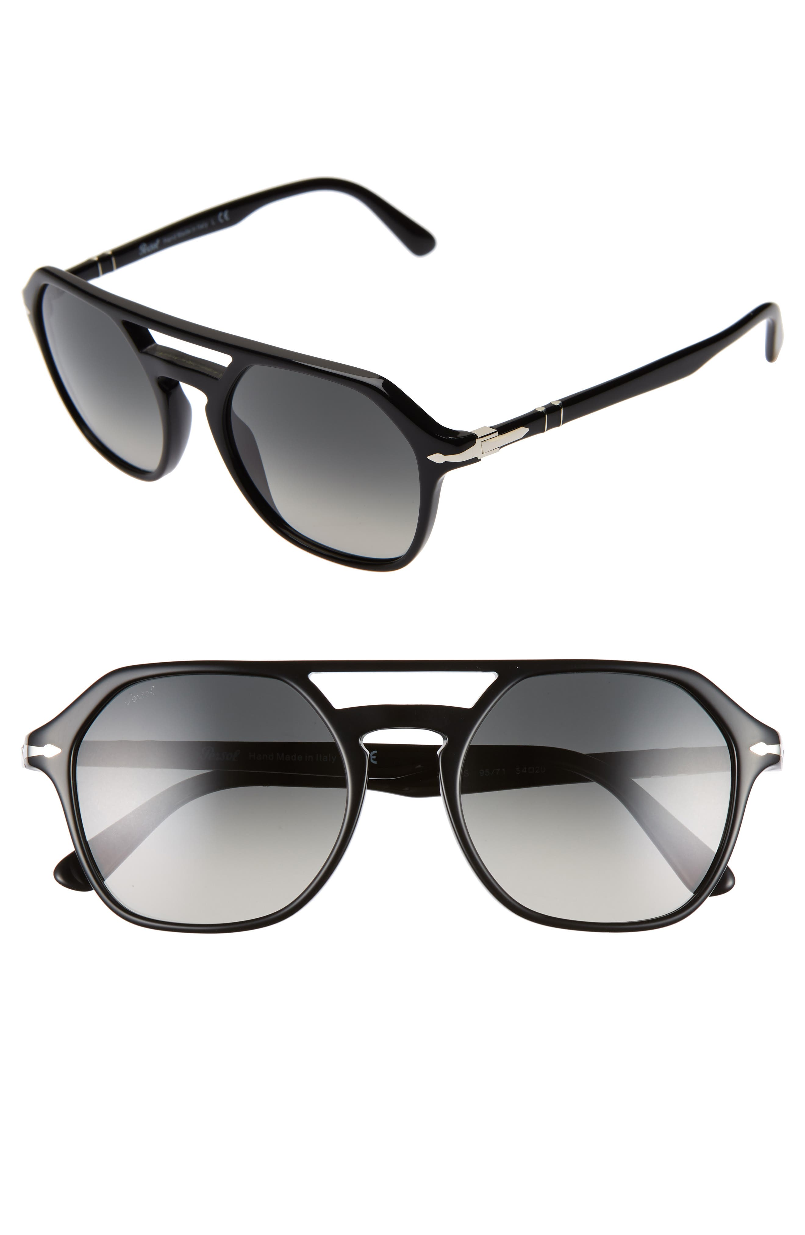 PERSOL 54mm Navigator Sunglasses, Main, color, BLACK/ GREY GRADIENT