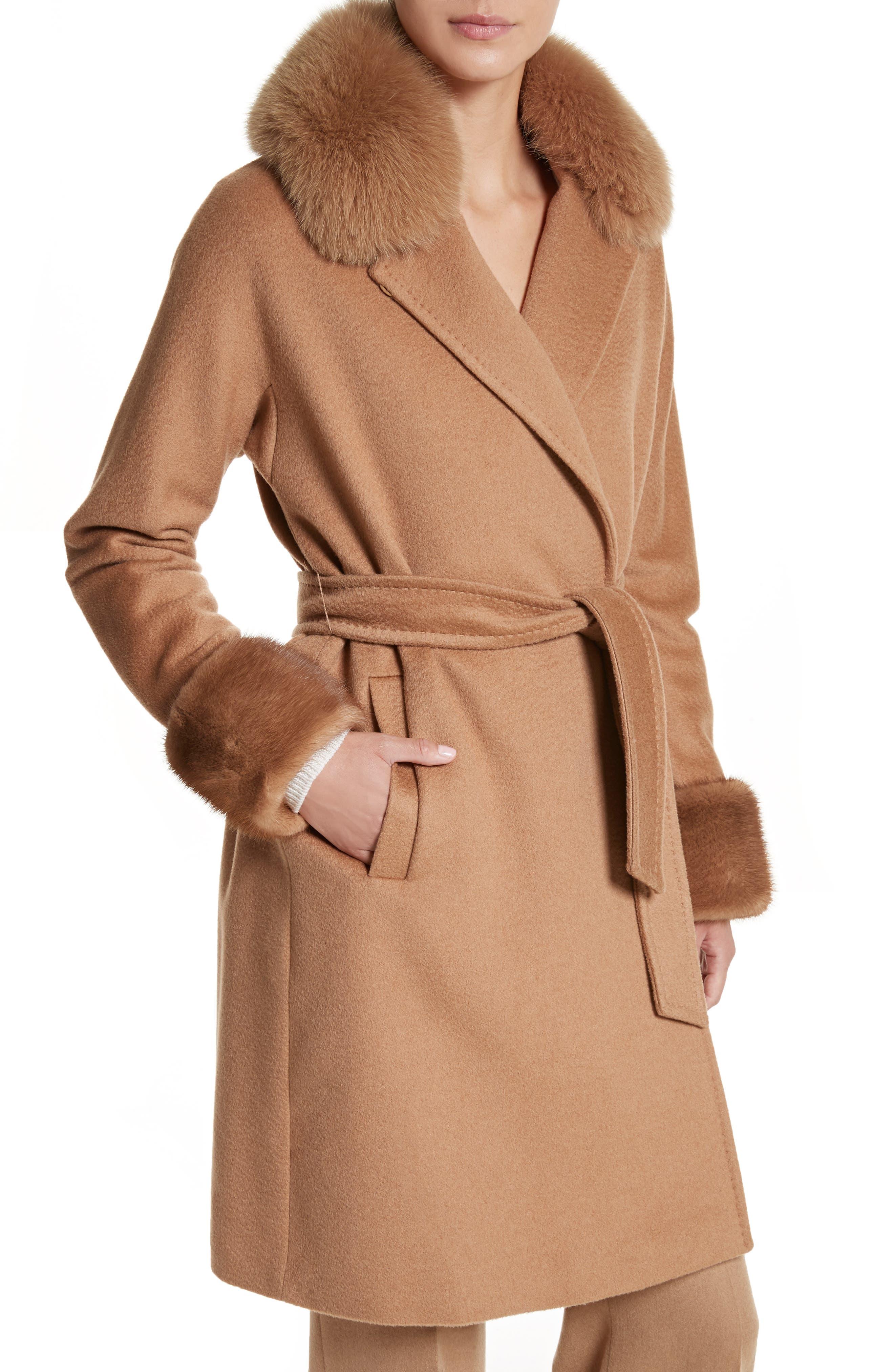 Camel Hair Coat with Genuine Fox Fur & Genuine Mink Fur Trim,                             Alternate thumbnail 4, color,                             232