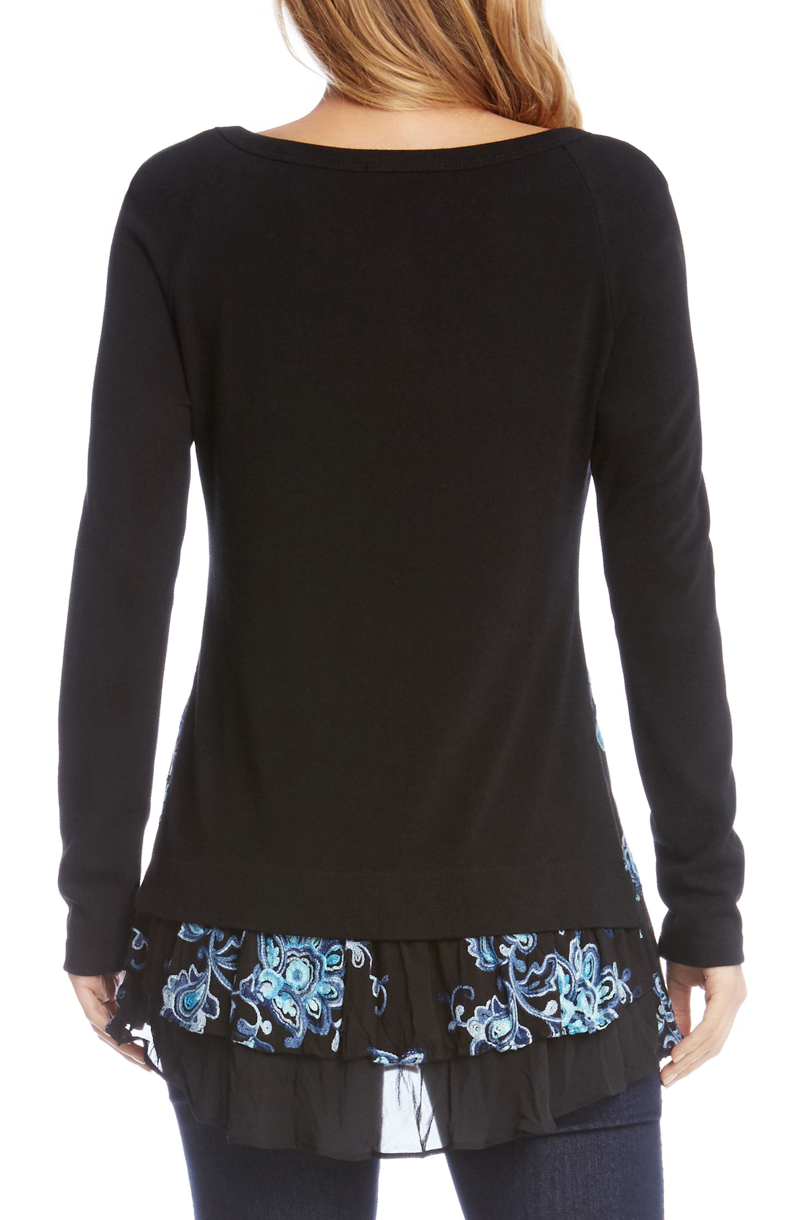 Flower Embroidery Layered Hem Top,                             Alternate thumbnail 2, color,