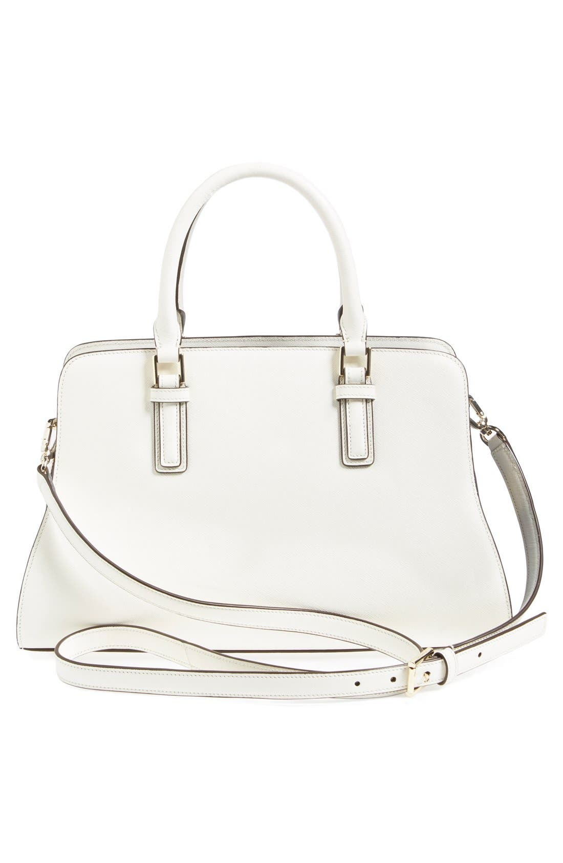 'Robinson - Curved' Leather Satchel,                             Alternate thumbnail 5, color,                             100