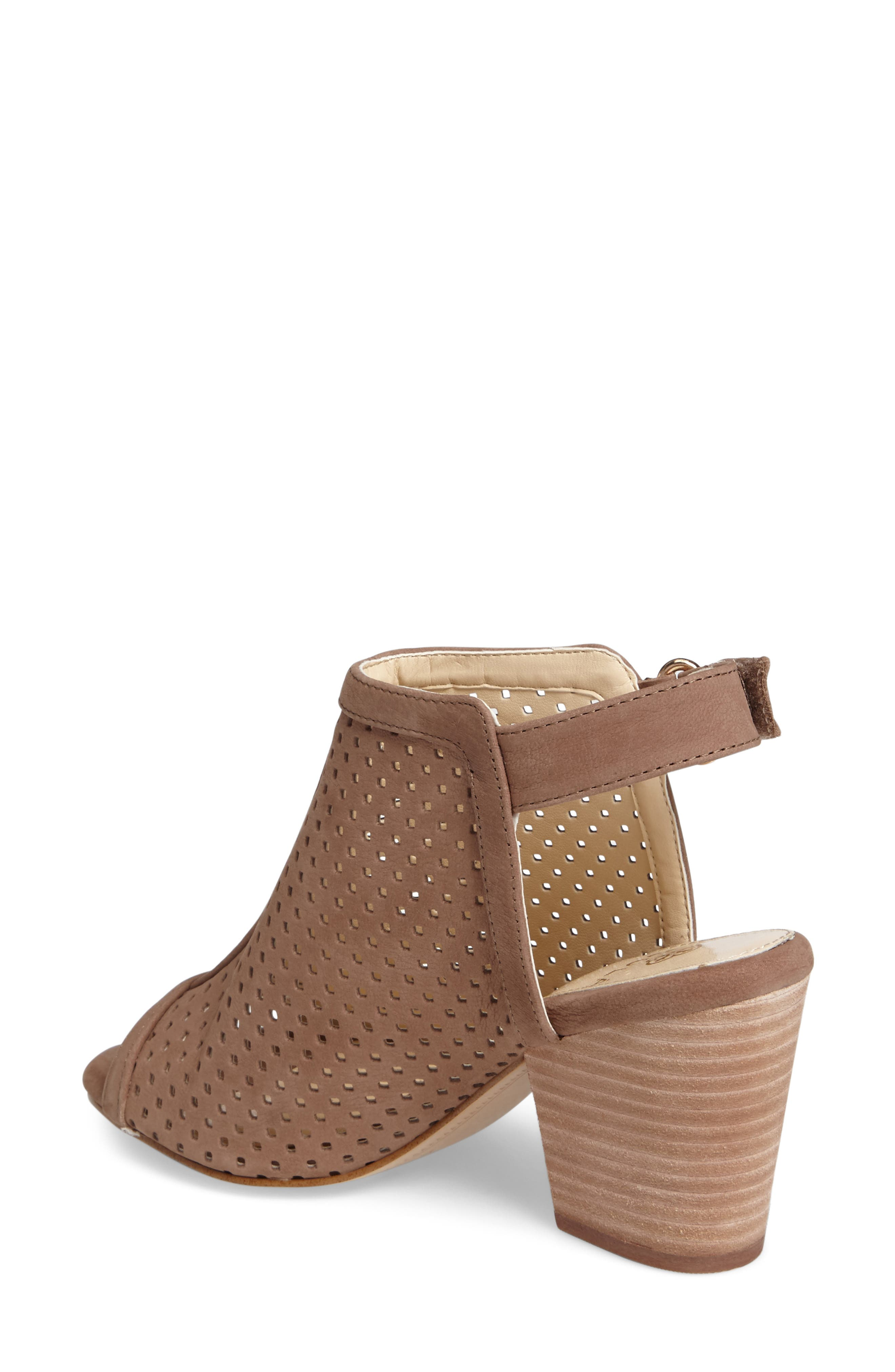 'Lora' Perforated Open-Toe Bootie Sandal,                             Alternate thumbnail 2, color,                             BARLEY LEATHER
