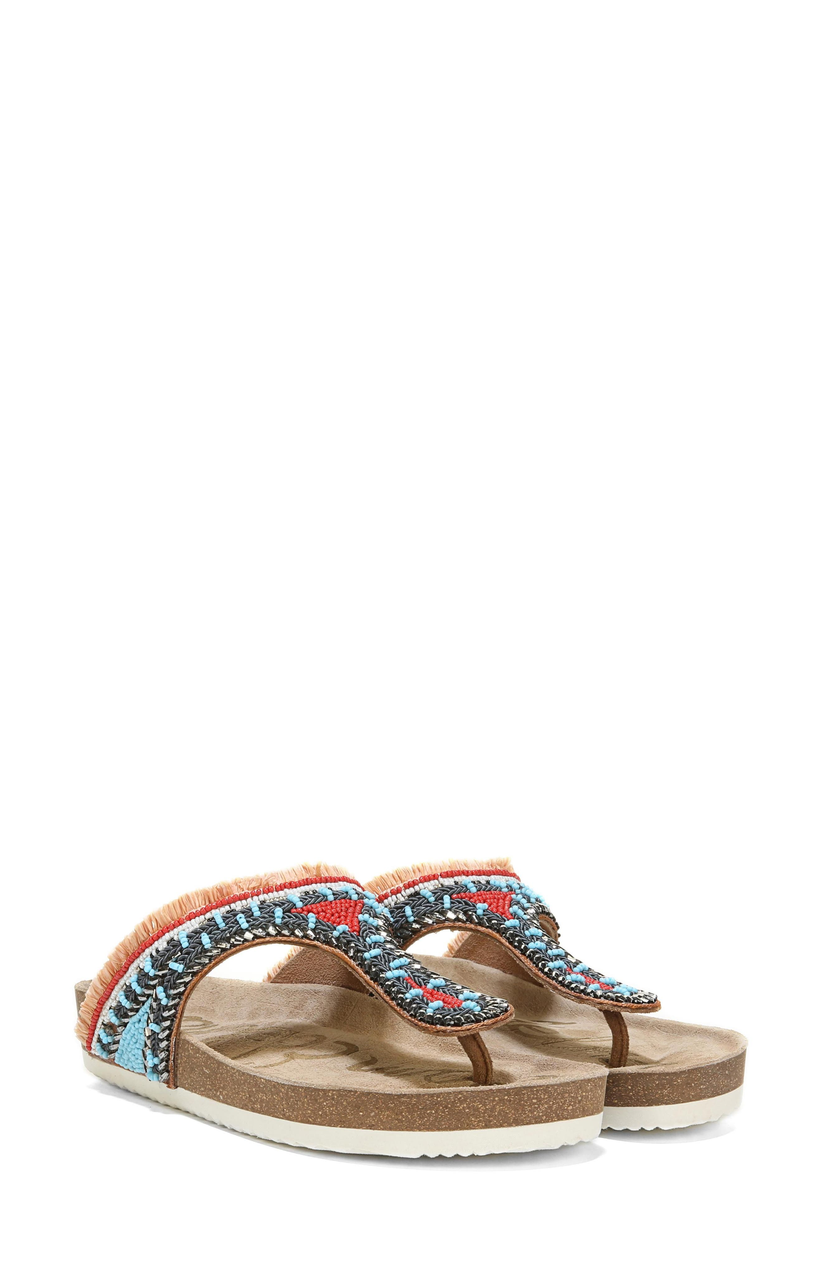 Olivie Beaded Flip Flop,                         Main,                         color, SADDLE/ BLUE MULTI