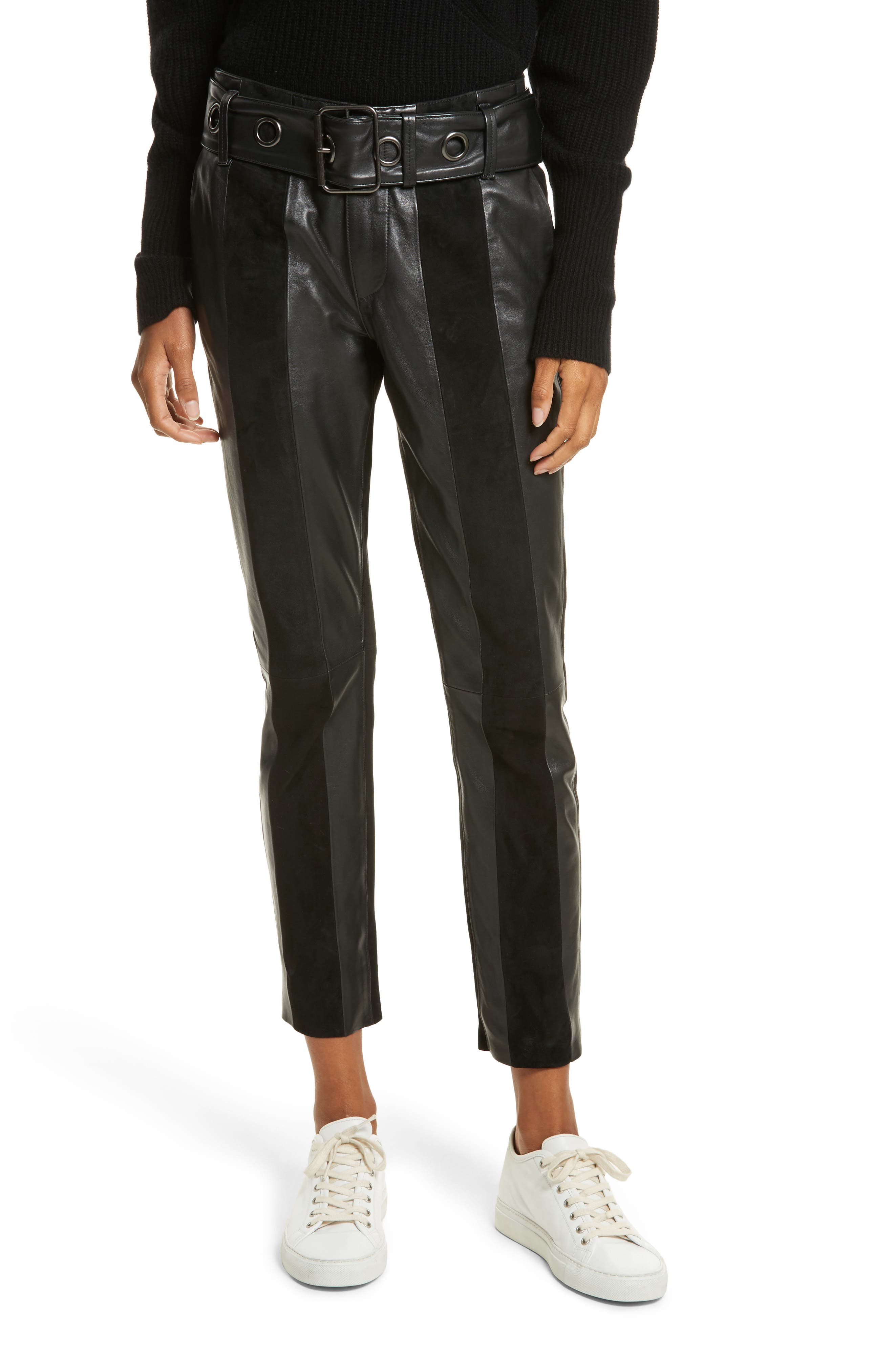 Paneled Suede & Leather Pants,                         Main,                         color, 001