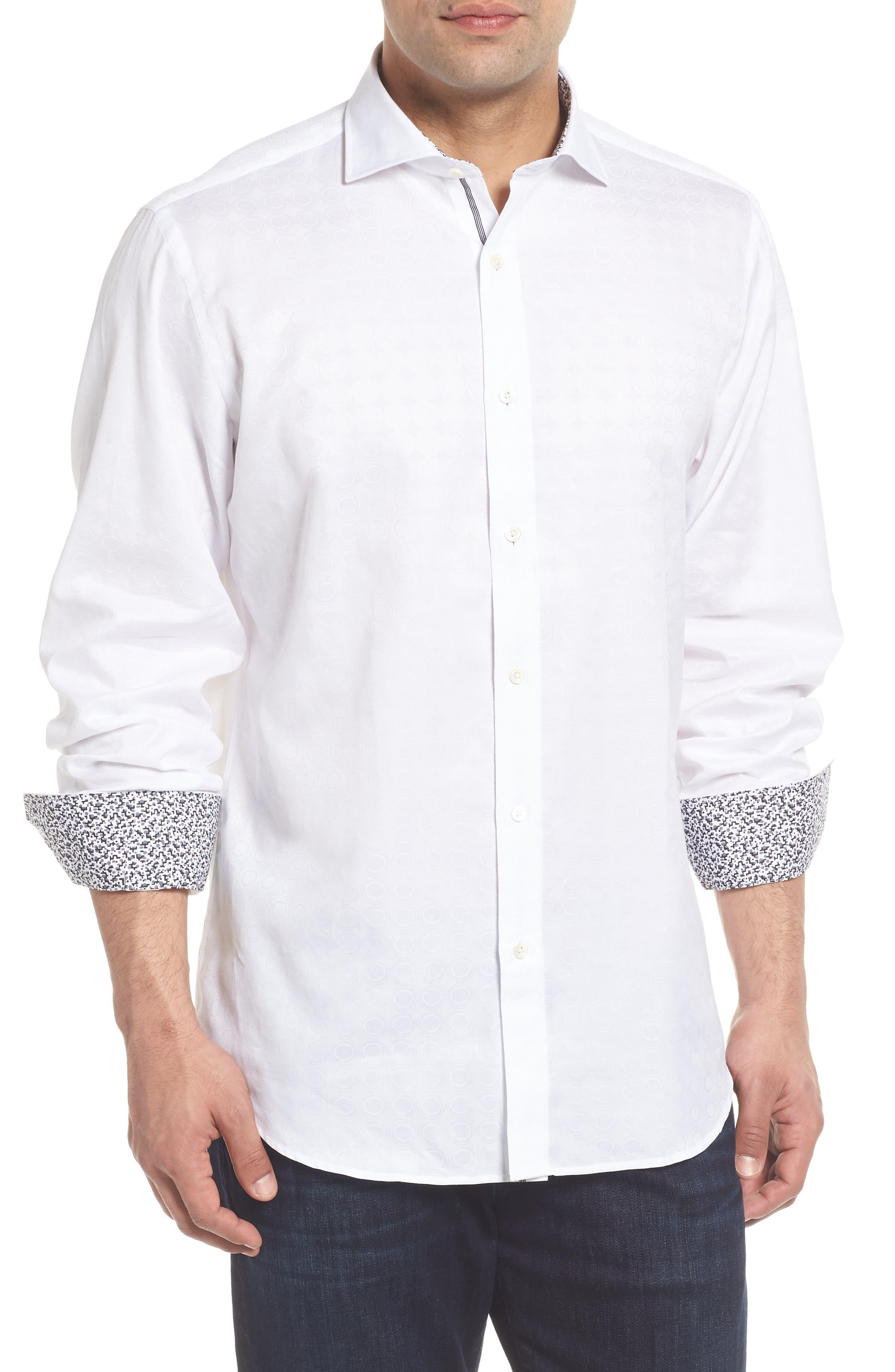 Classic Fit Tonal Circles Sport Shirt,                         Main,                         color, 100