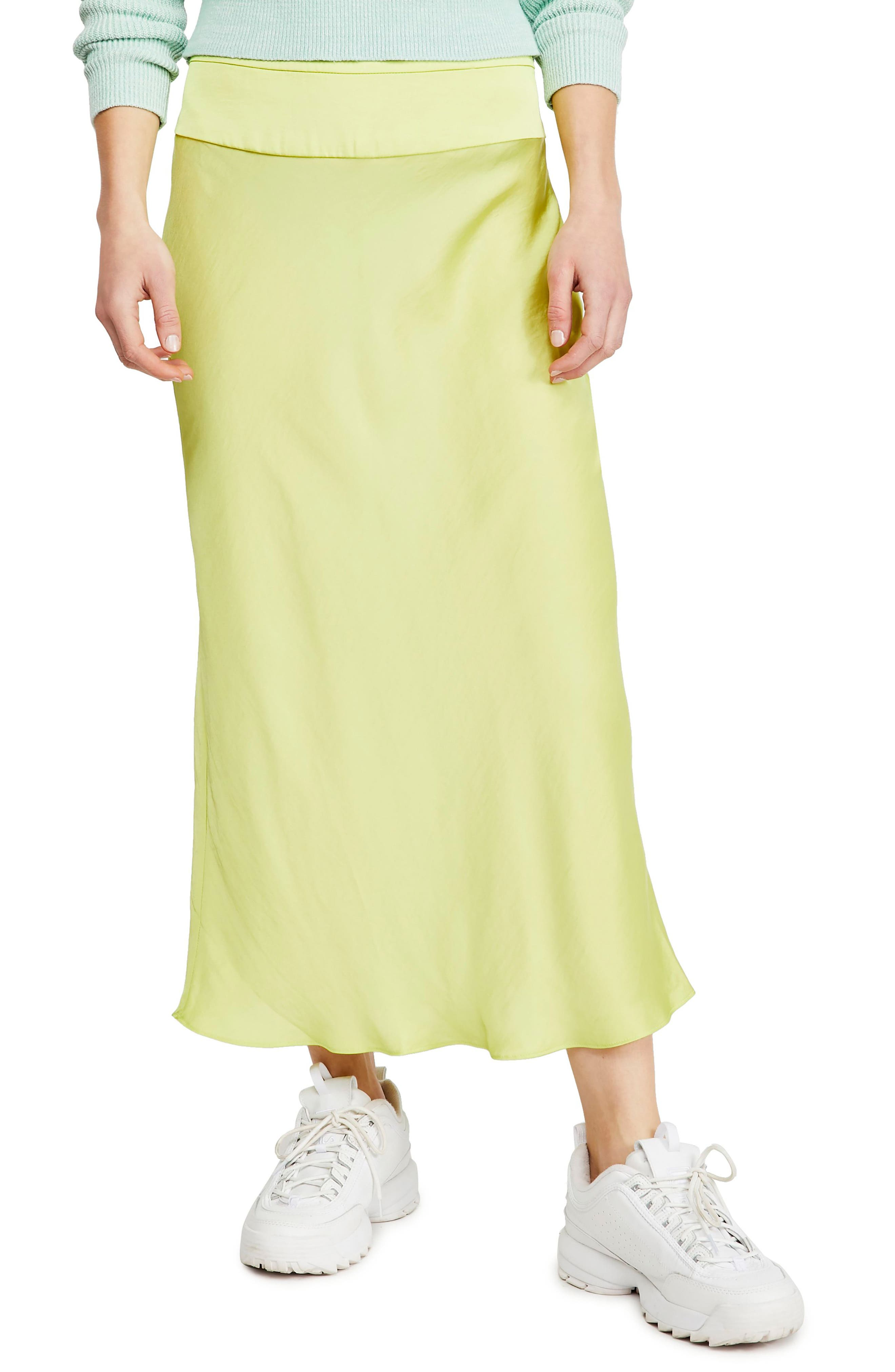 Free People Skirts NORMANI BIAS CUT SATIN SKIRT