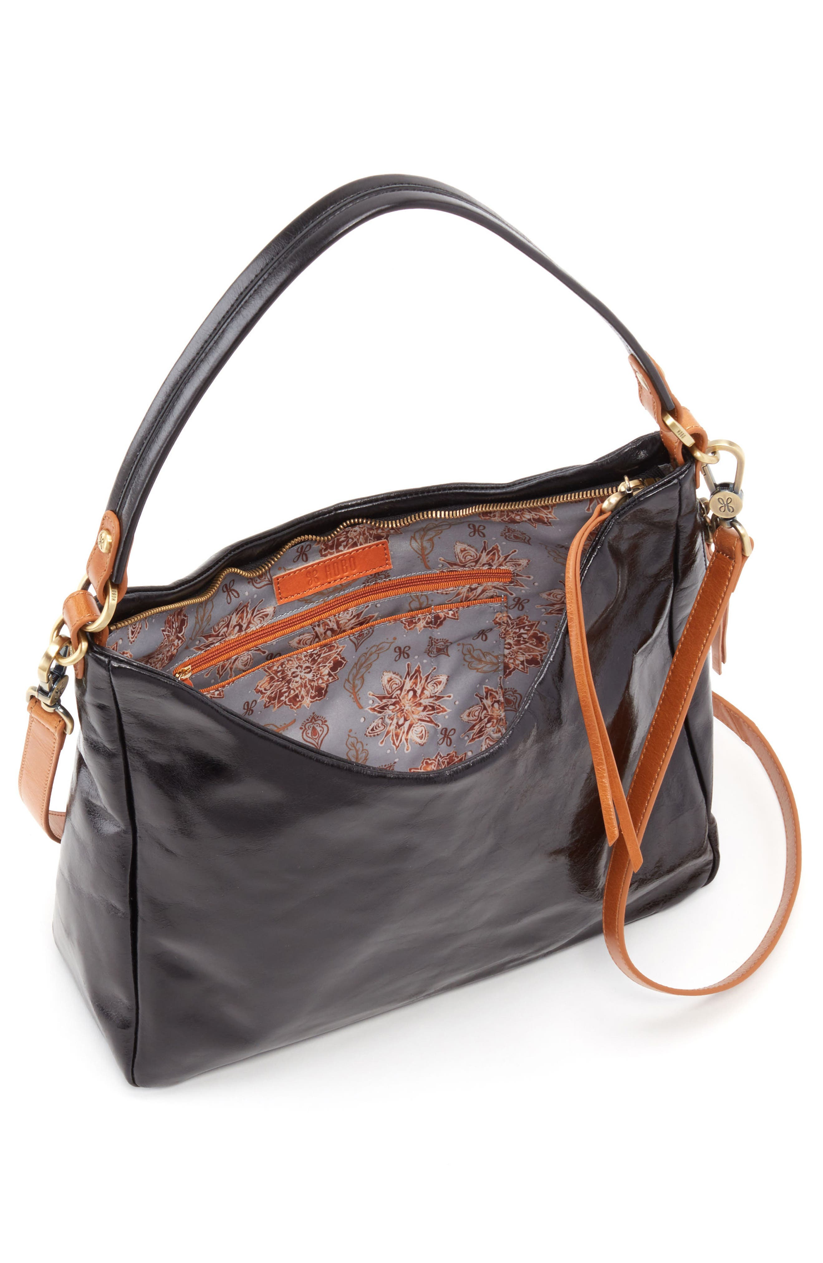 Delilah Convertible Hobo Bag,                             Alternate thumbnail 3, color,                             BLACK
