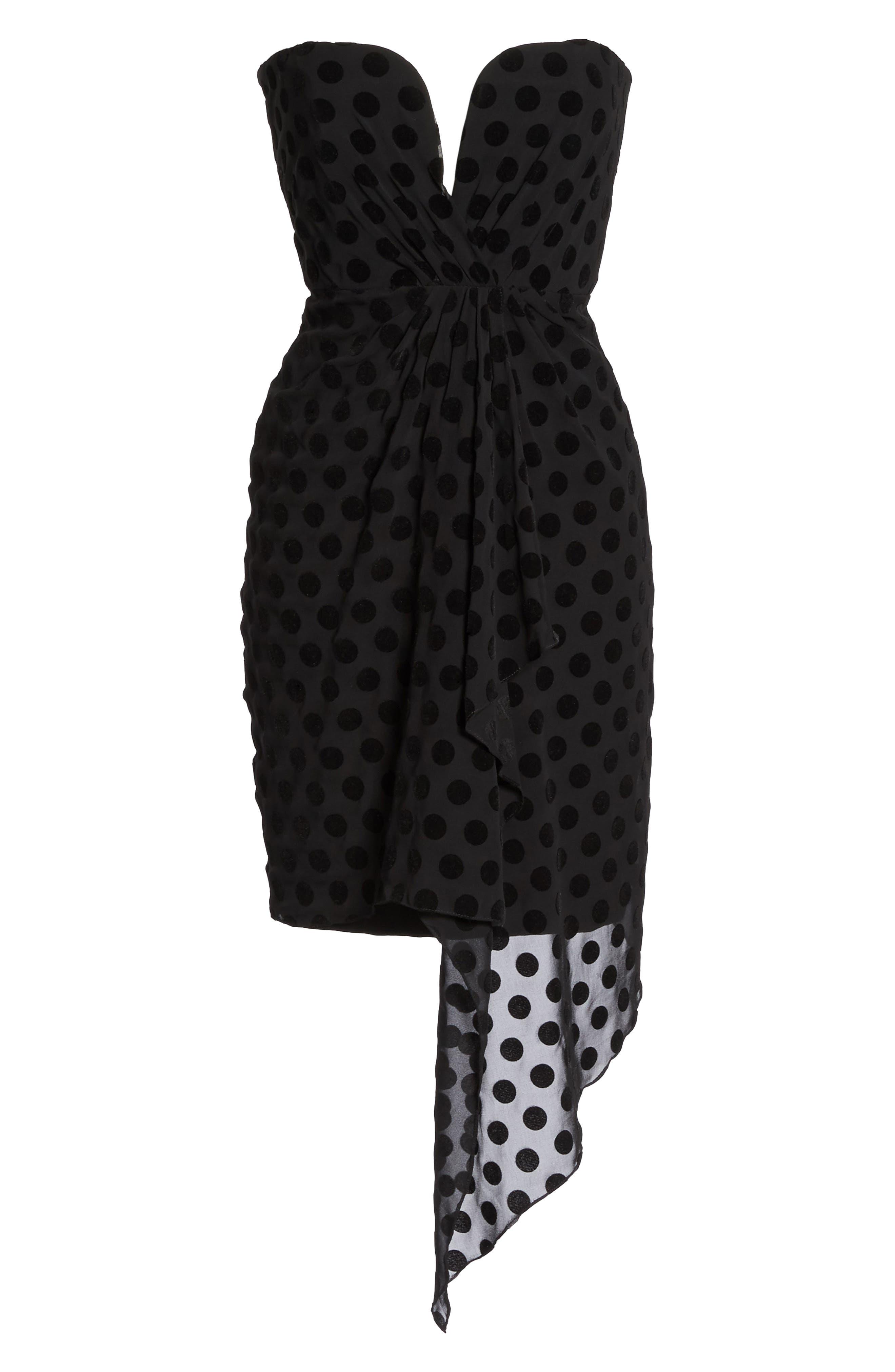 Strapless Flocked Velvet Spot Dress,                             Alternate thumbnail 6, color,                             001