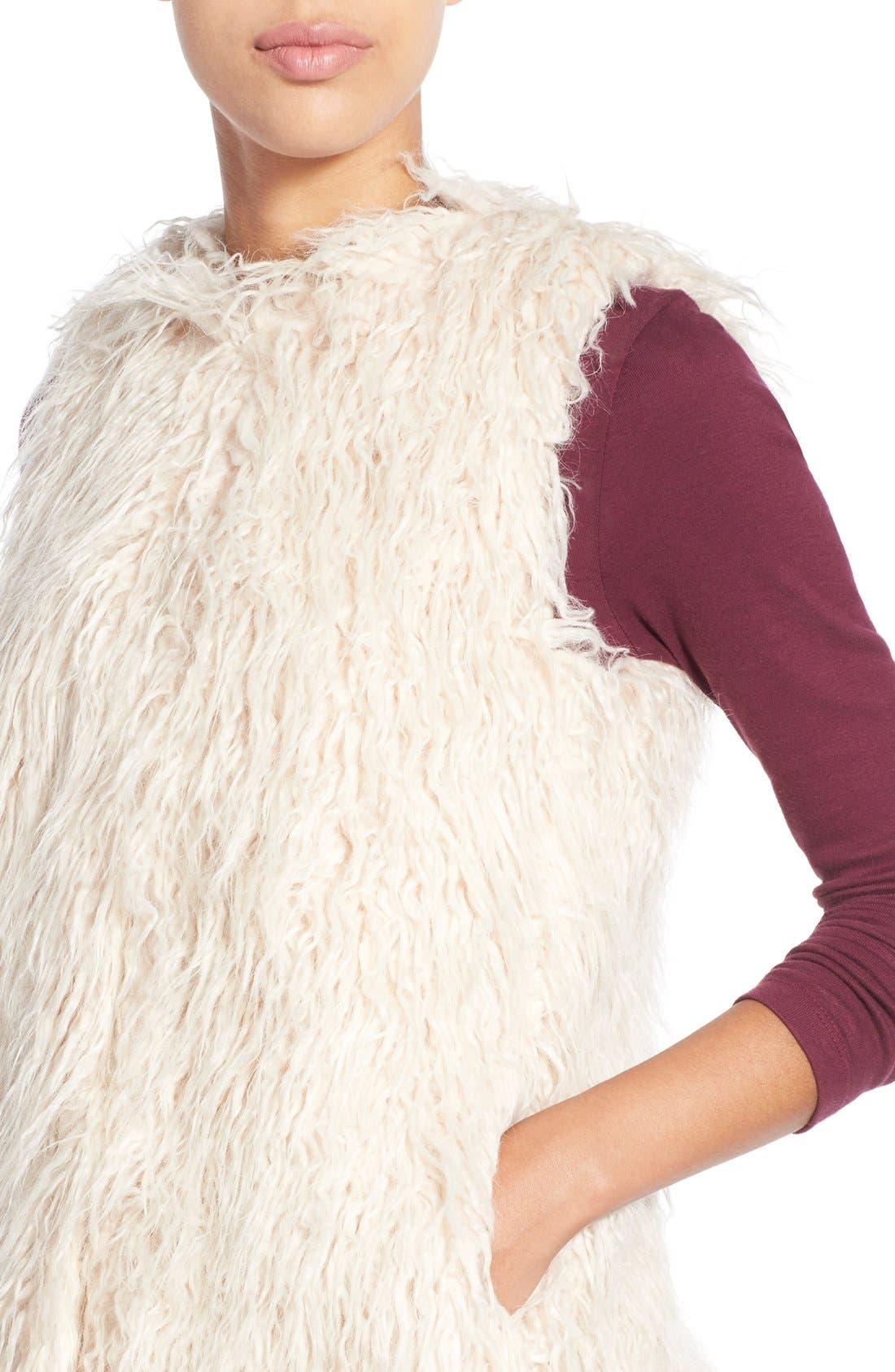 Shaggy Faux Fur Vest,                             Alternate thumbnail 6, color,                             299