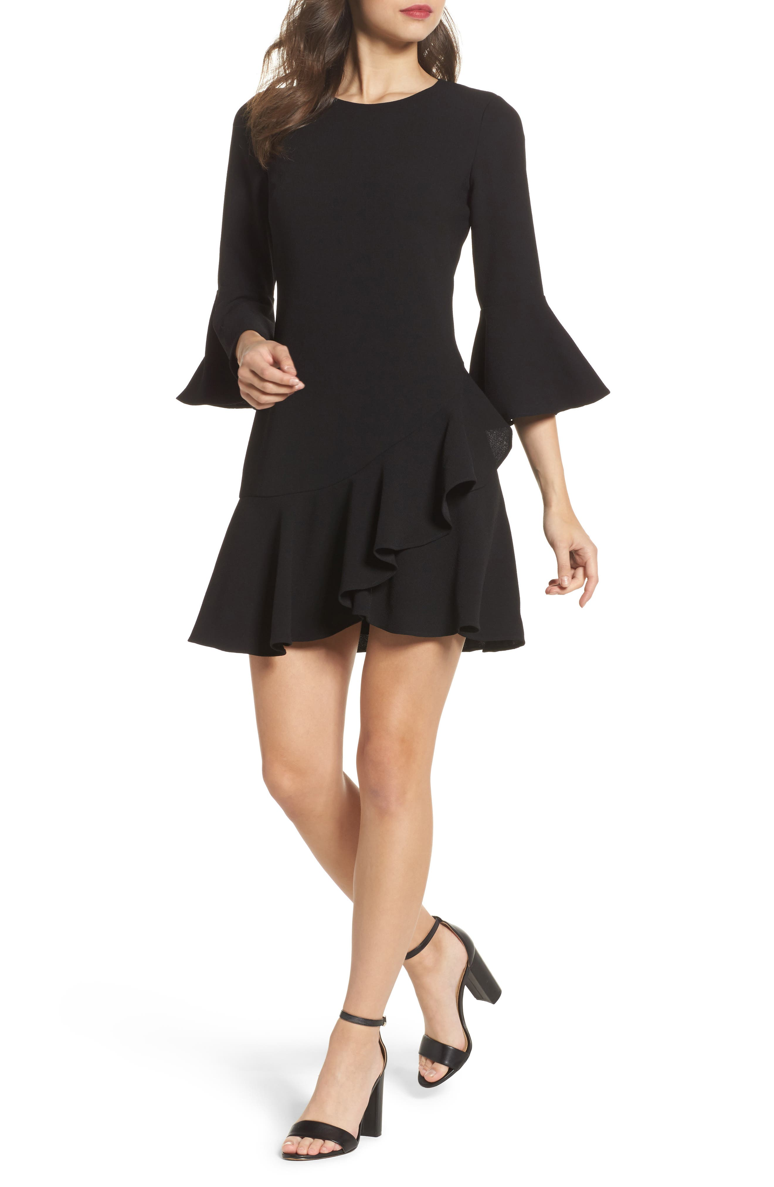 Bell Sleeve Fit & Flare Dress,                         Main,                         color, 001
