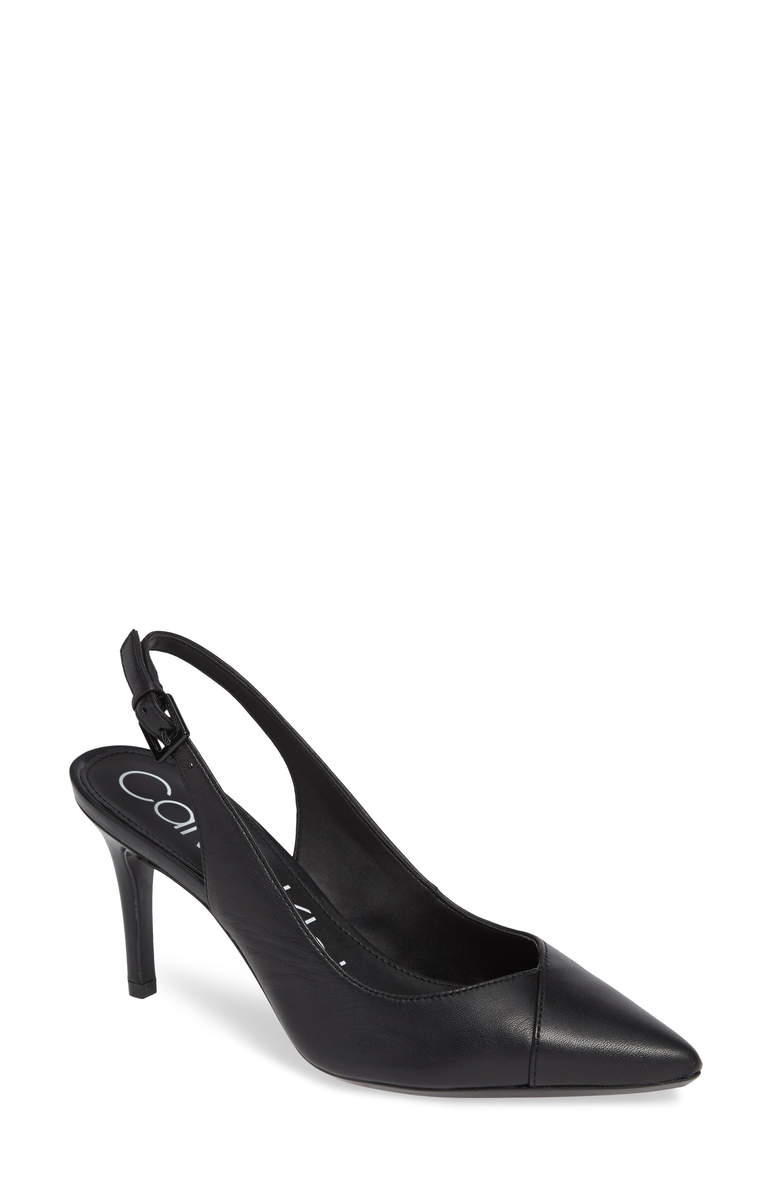 Gwenith Slingback Pump, Main, color, BLACK LEATHER