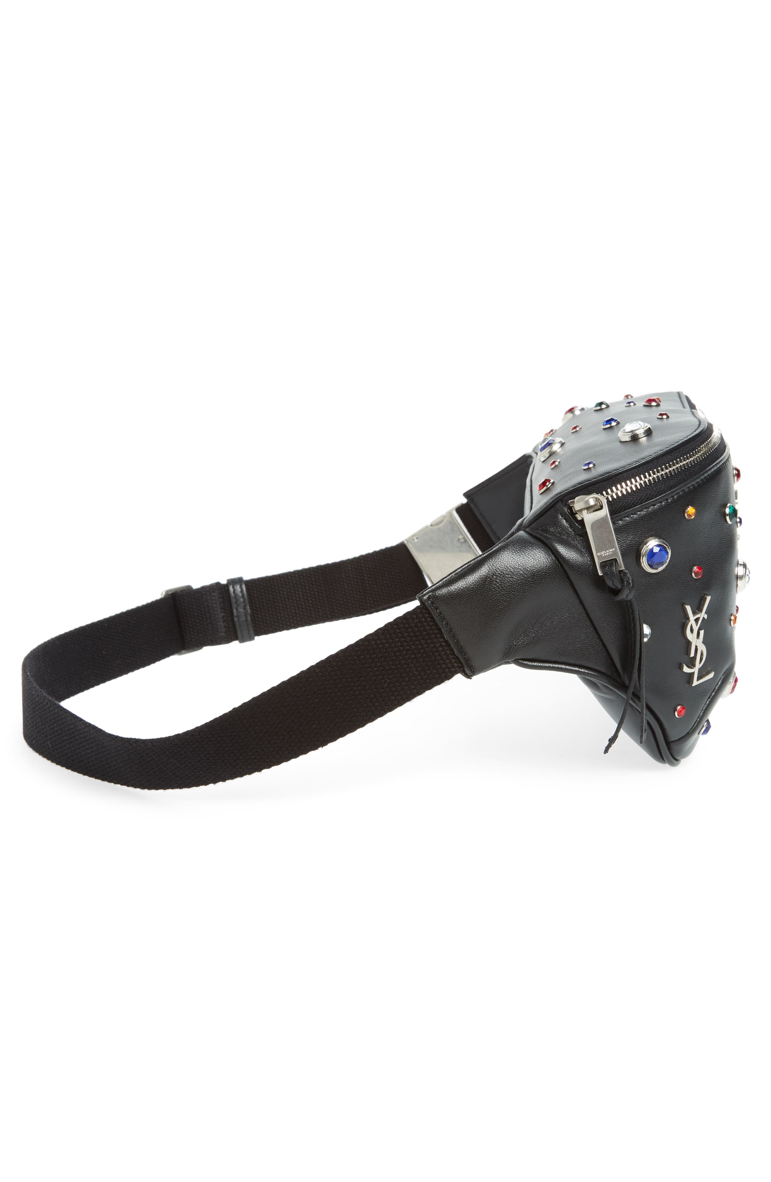 Monogram Studded Leather Belt Bag,                             Alternate thumbnail 6, color,                             NOIR MULTI