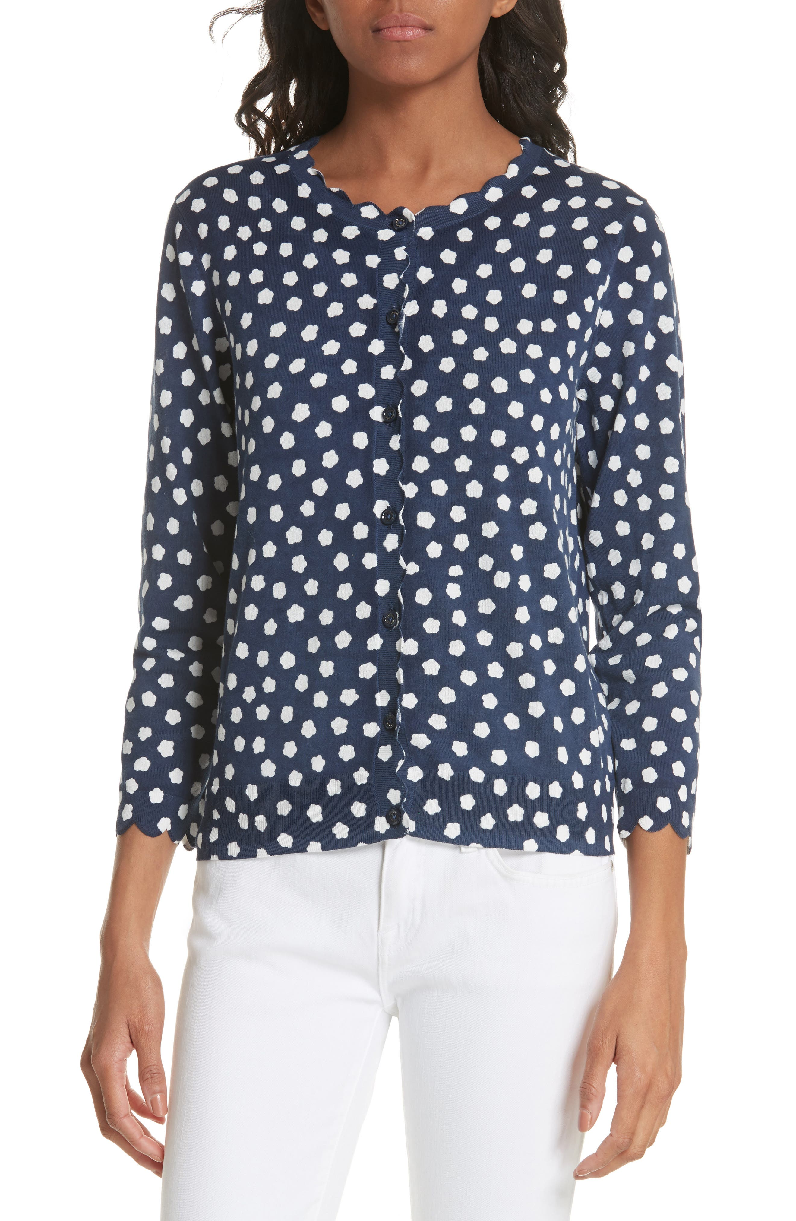 cloud dot scallop cotton cardigan,                         Main,                         color, FRENCH NAVY/ FRESH WHITE