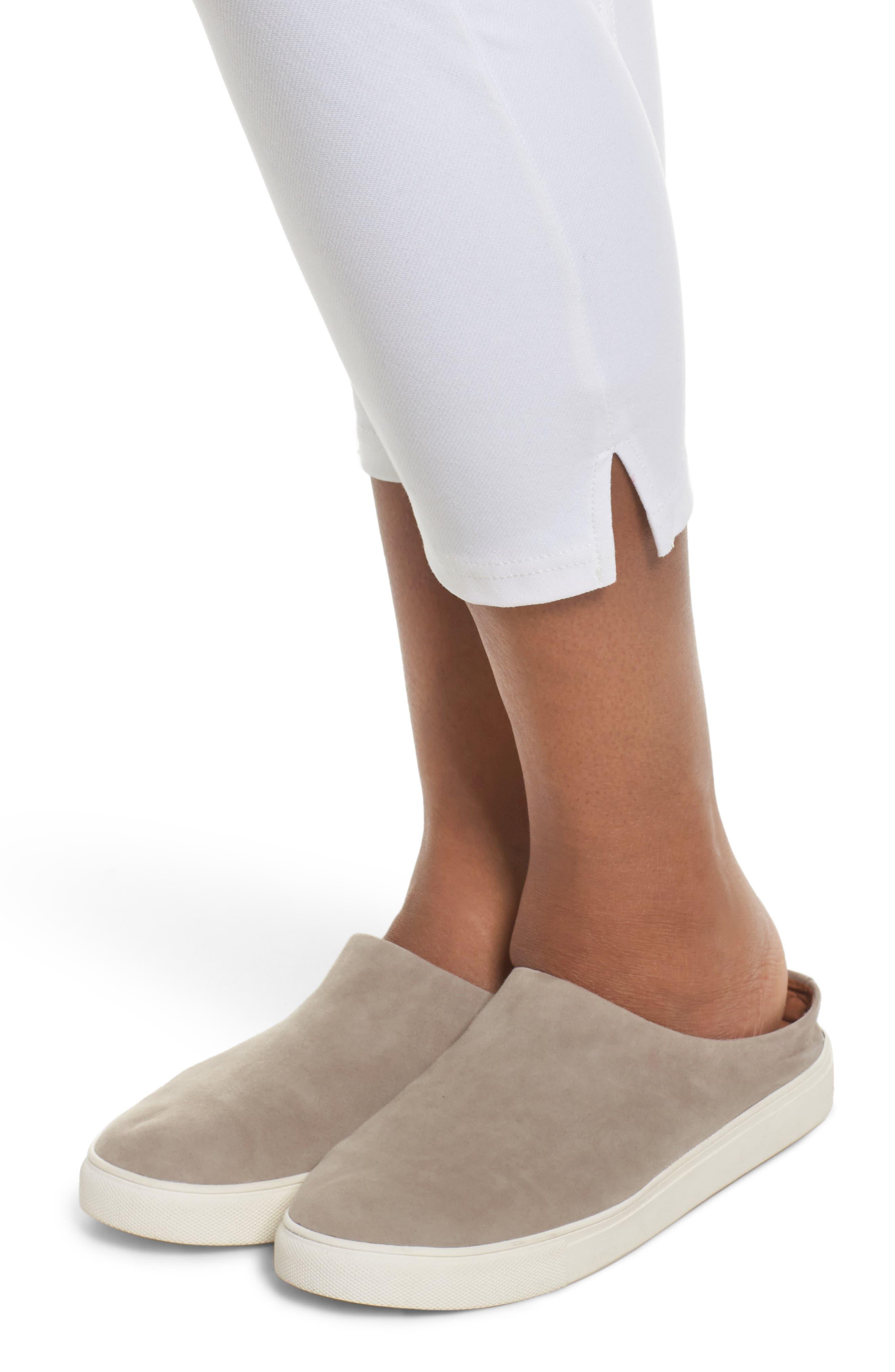 Ankle Slit Crop Denim Leggings,                             Alternate thumbnail 4, color,                             WHITE