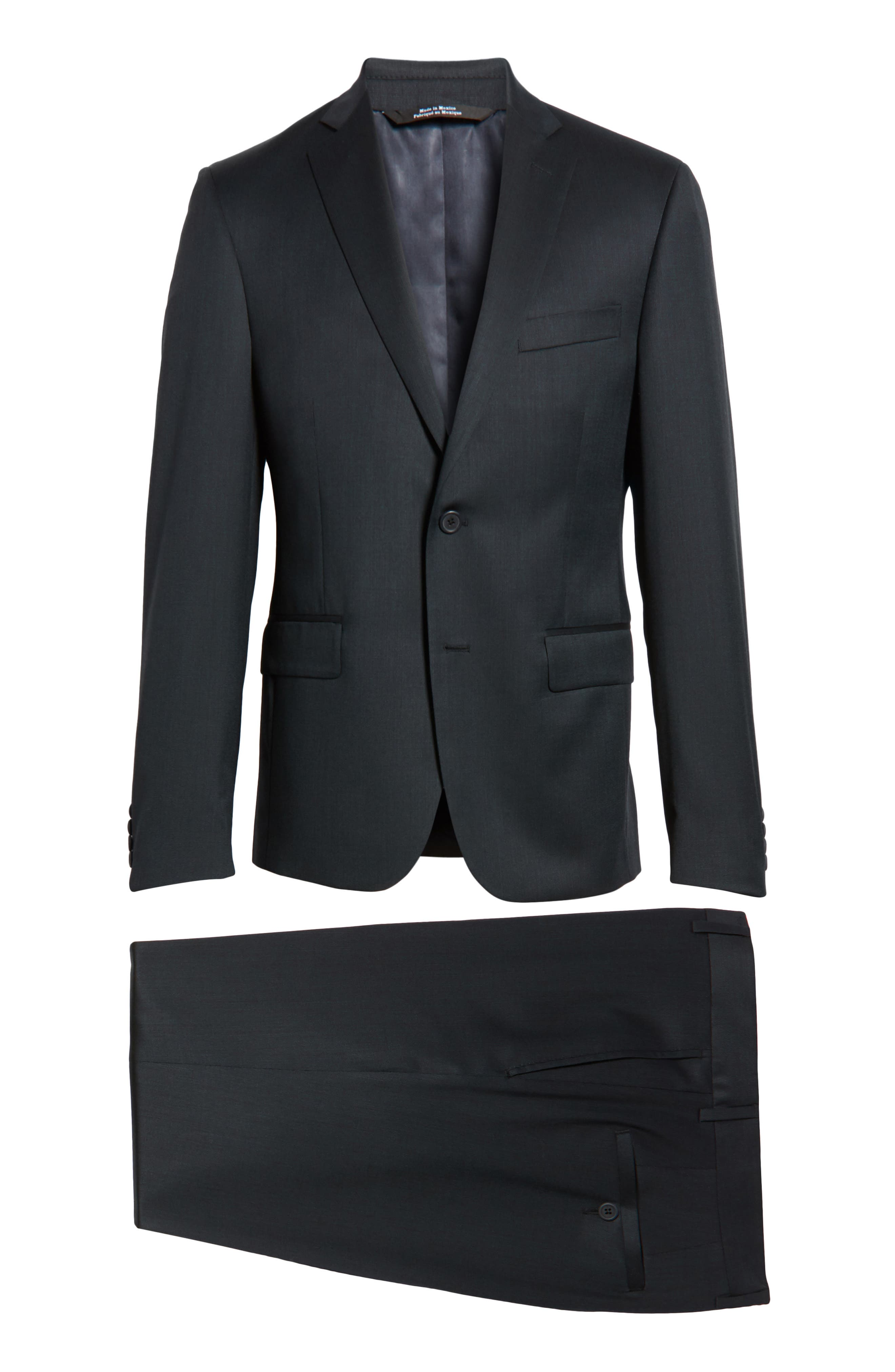 Extra Trim Fit Solid Wool Suit,                             Alternate thumbnail 8, color,                             401