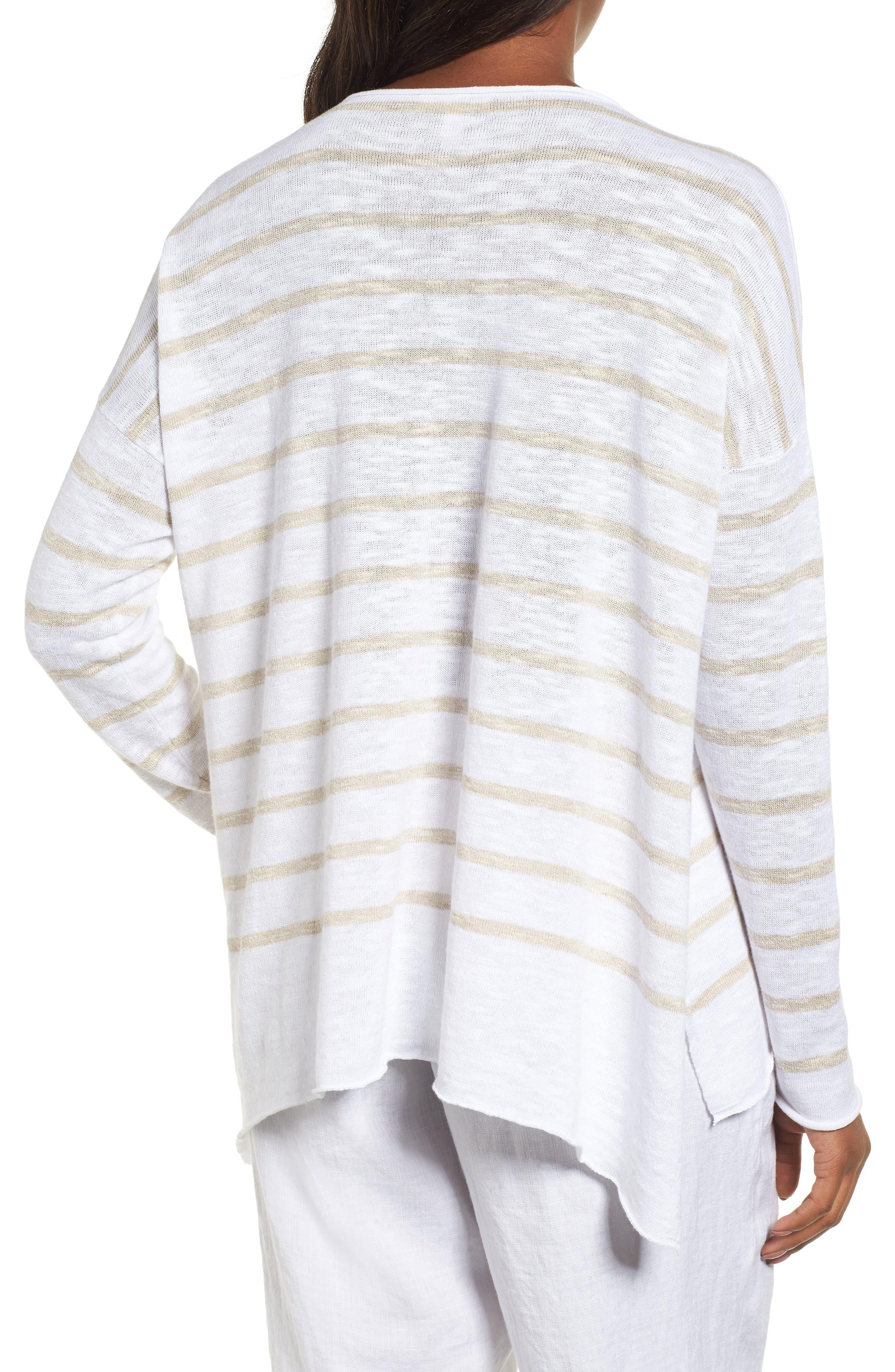 Stripe Organic Linen & Cotton Sweater,                             Alternate thumbnail 2, color,                             138
