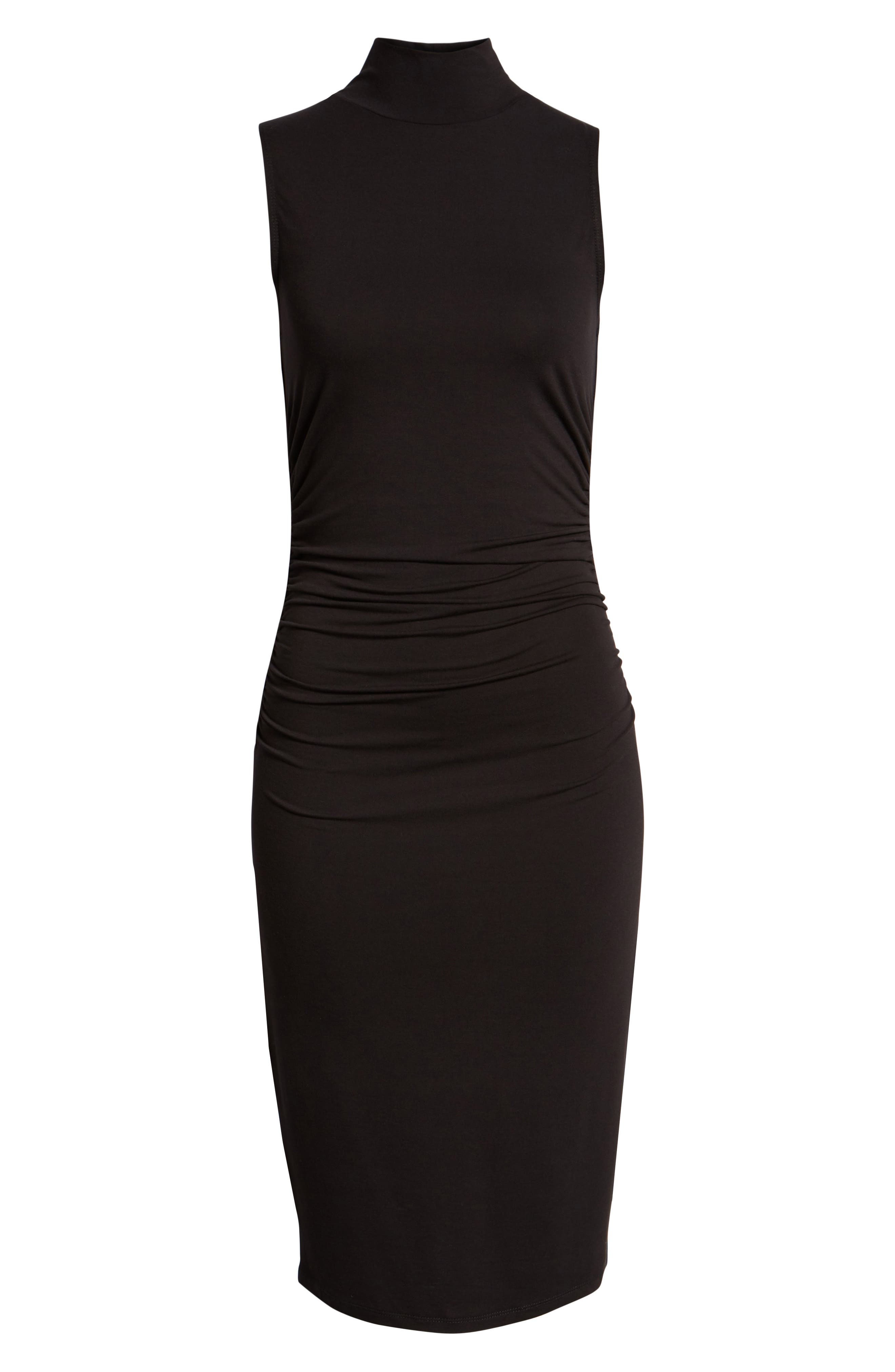 Mock Neck Tank Dress,                             Alternate thumbnail 7, color,                             BLACK