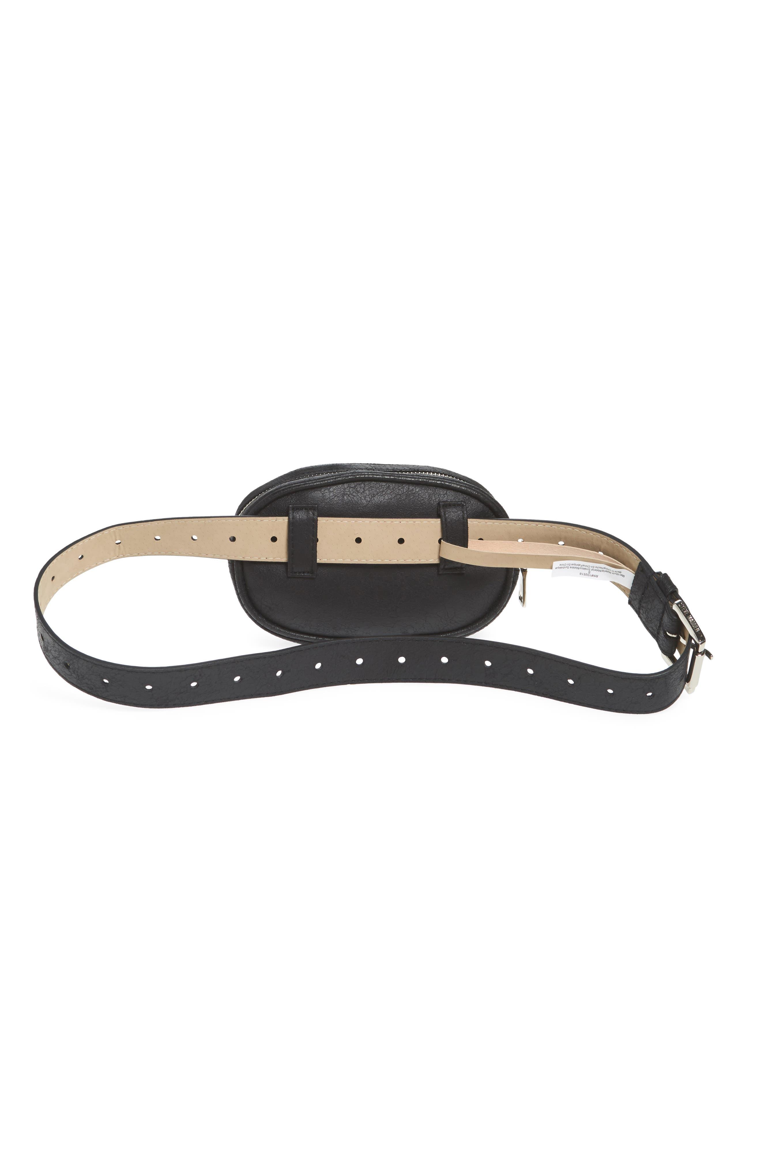 Faux Shearling Belt Bag,                             Alternate thumbnail 4, color,                             BLACK/ NATURAL