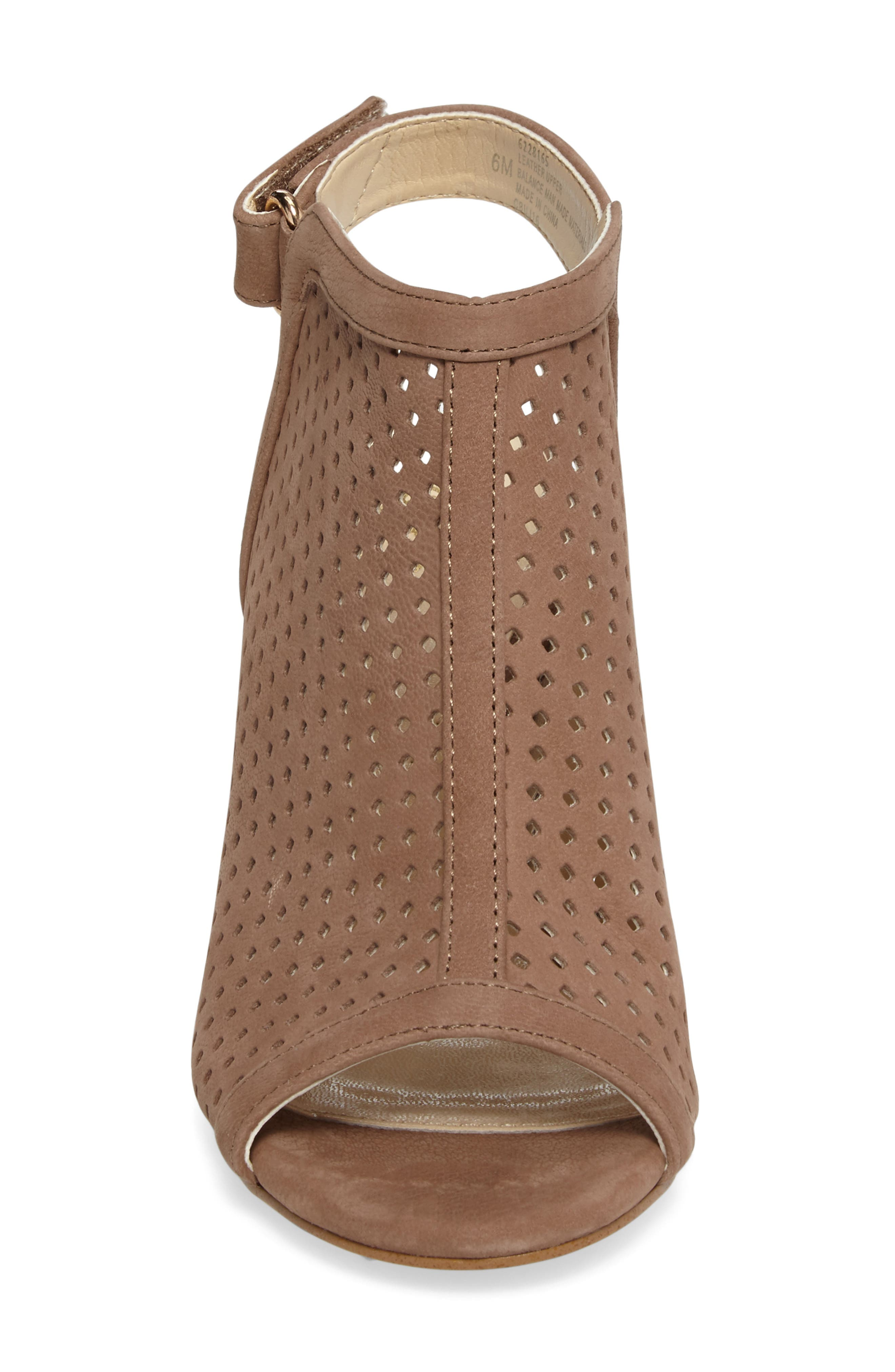 'Lora' Perforated Open-Toe Bootie Sandal,                             Alternate thumbnail 4, color,                             BARLEY LEATHER