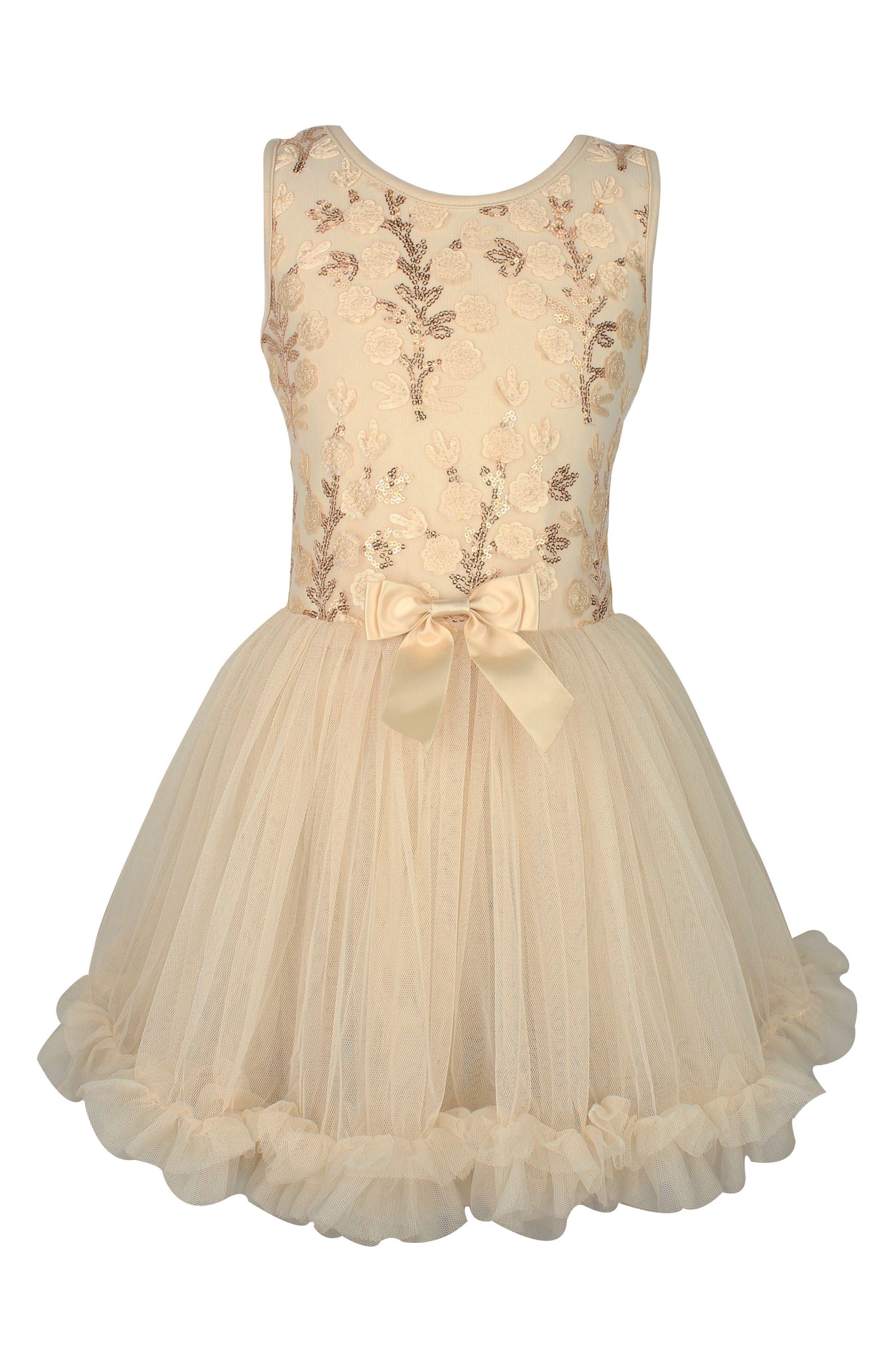 Flower Sequin Dress,                         Main,                         color, IVORY