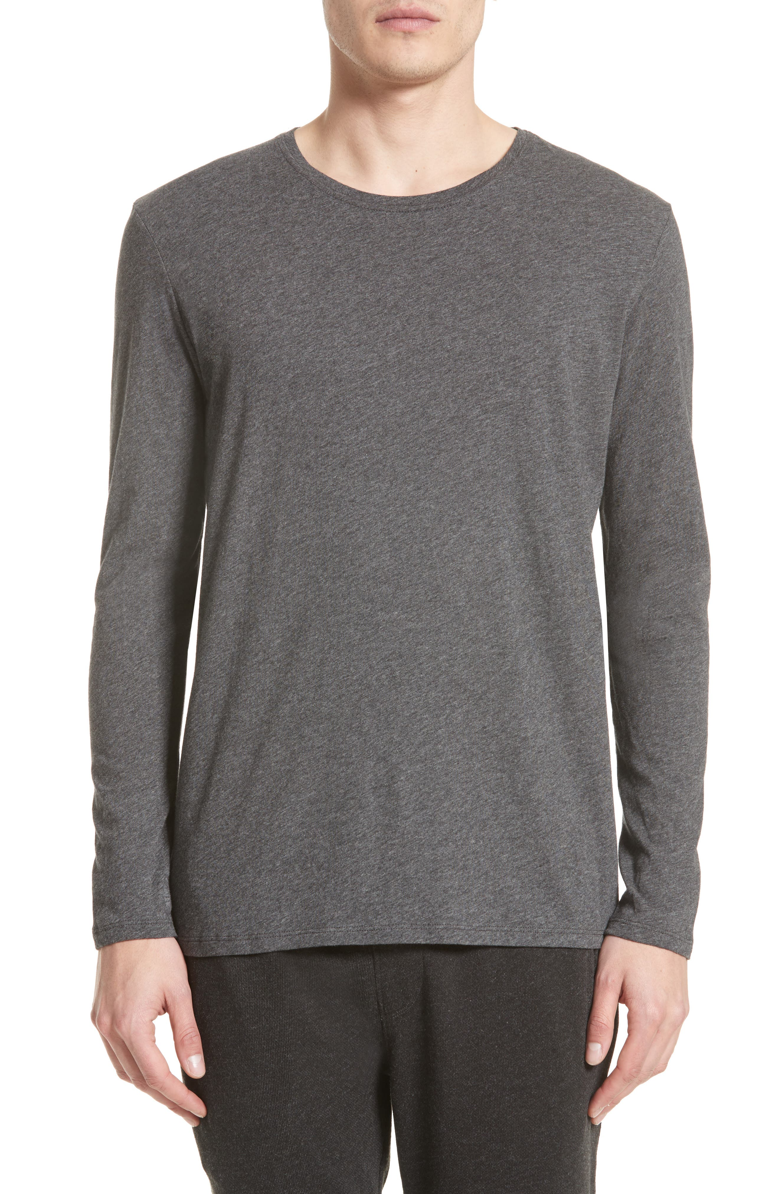 Cotton Crewneck,                             Main thumbnail 1, color,                             CHARCOAL