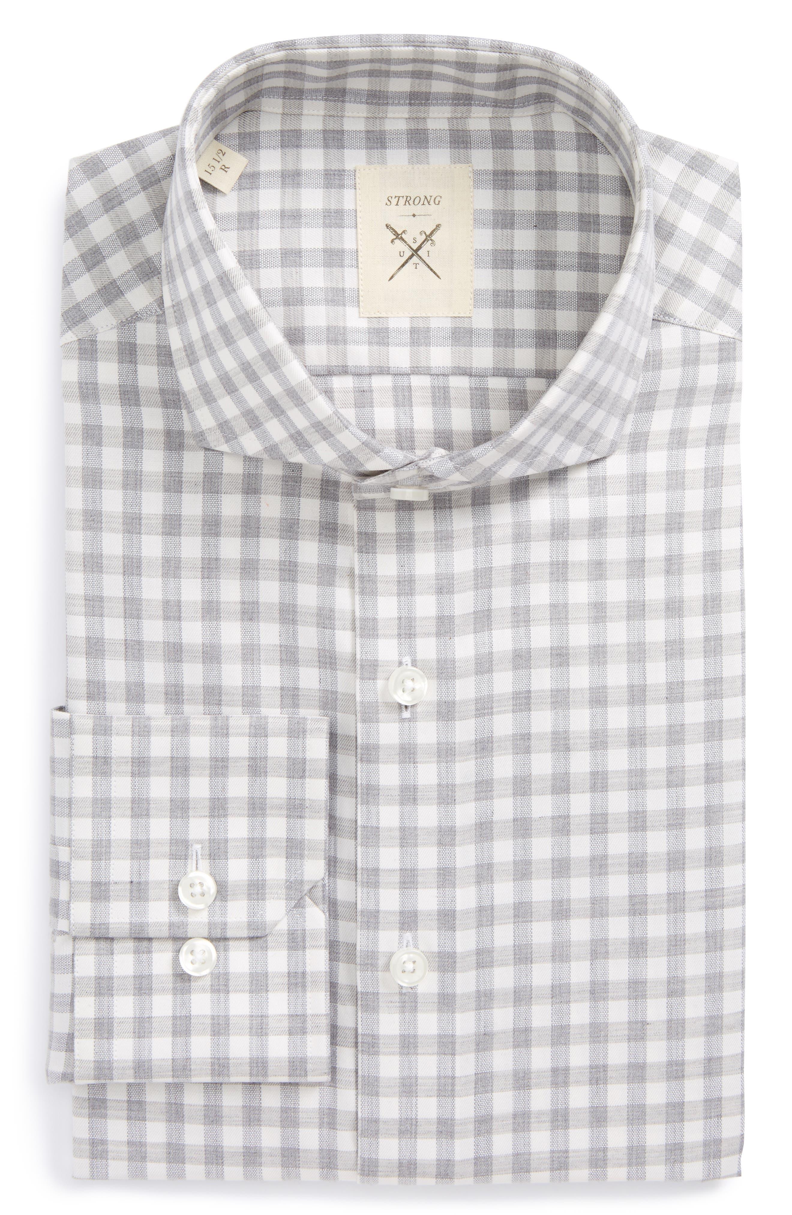 Extra Trim Fit Check Dress Shirt,                             Main thumbnail 1, color,                             034