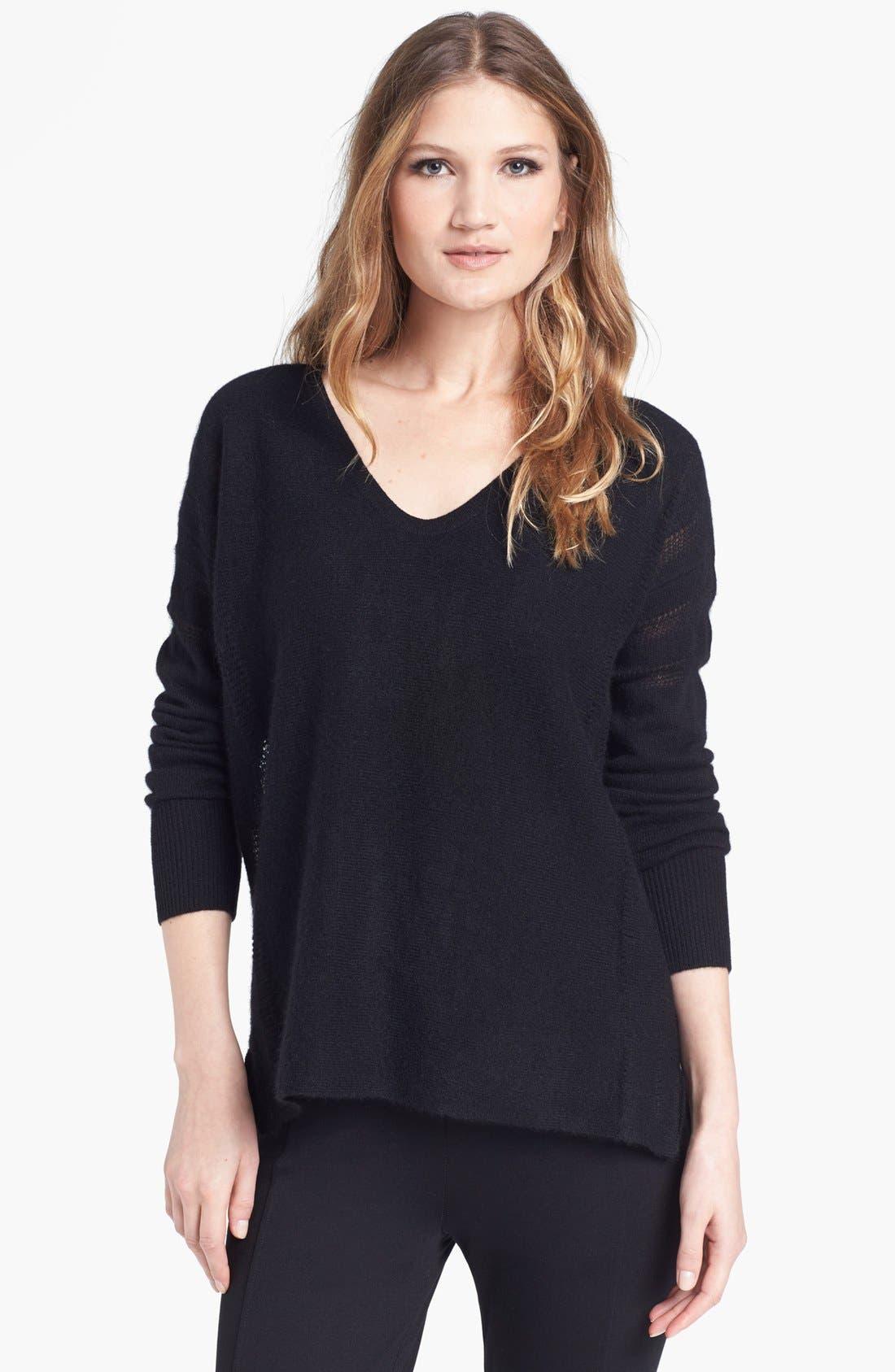 V-Neck Cashmere Sweater,                             Main thumbnail 1, color,                             001