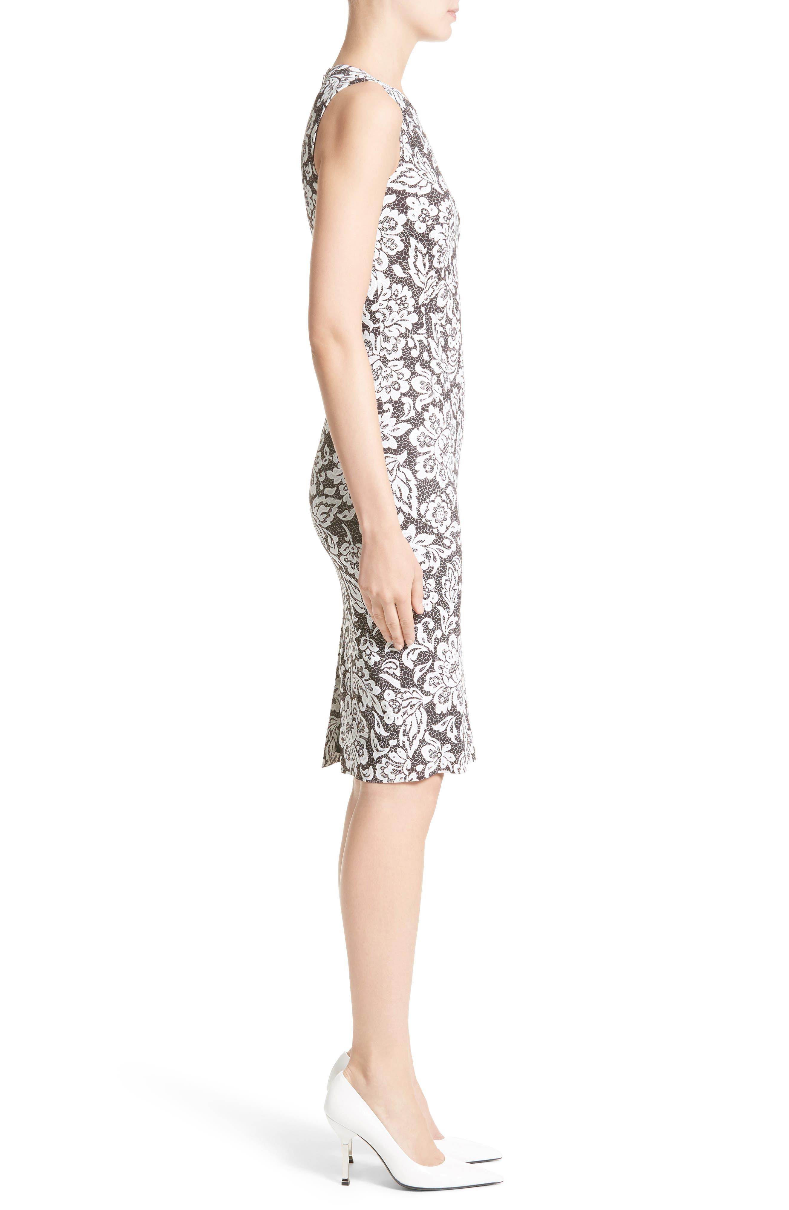 Stretch Cady Lace Print Sheath Dress,                             Alternate thumbnail 3, color,                             001