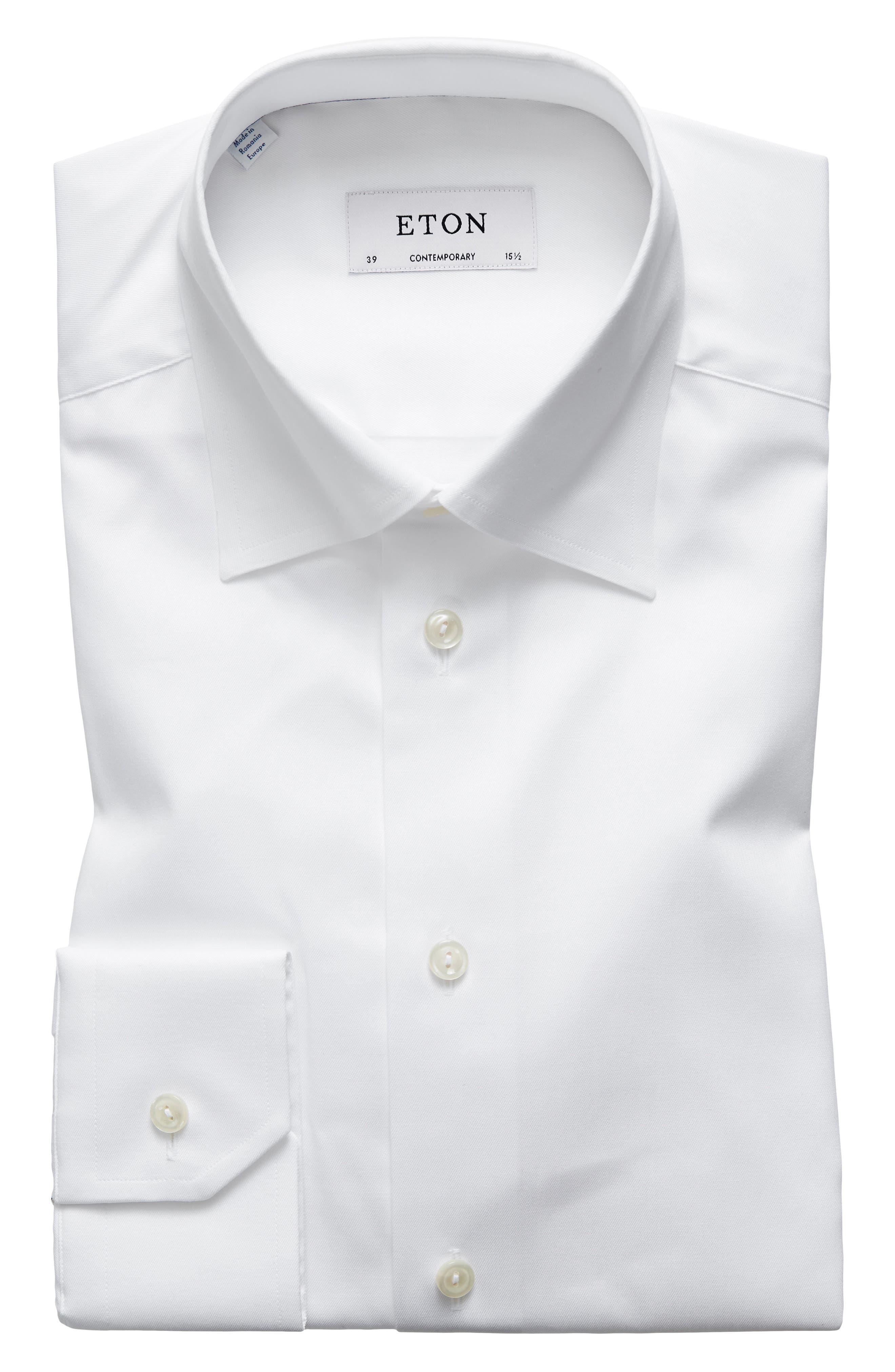 ETON,                             Contemporary Fit Solid Dress Shirt,                             Main thumbnail 1, color,                             100