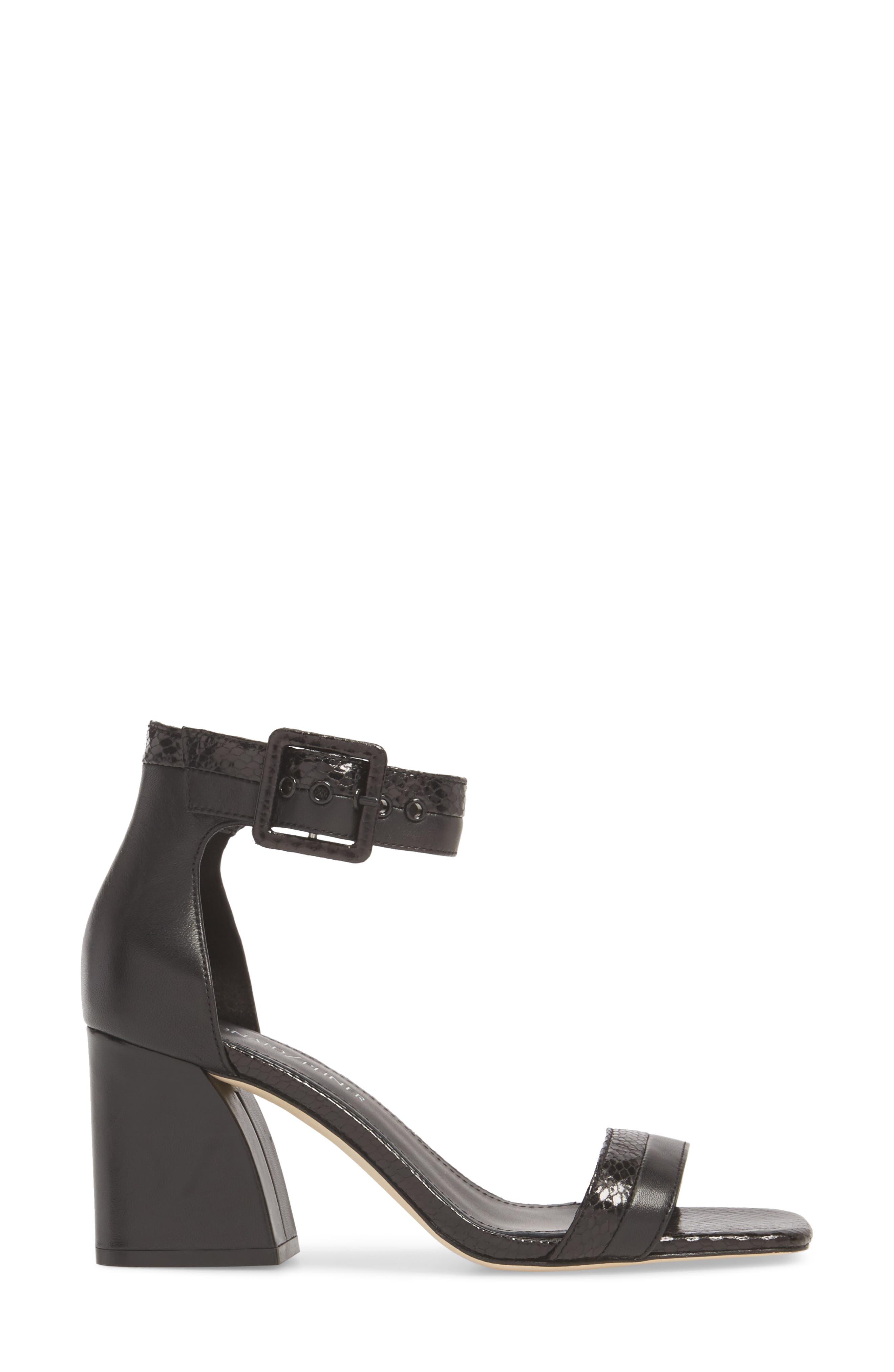 Watson Ankle Strap Sandal,                             Alternate thumbnail 3, color,                             BLACK PRINTED LEATHER