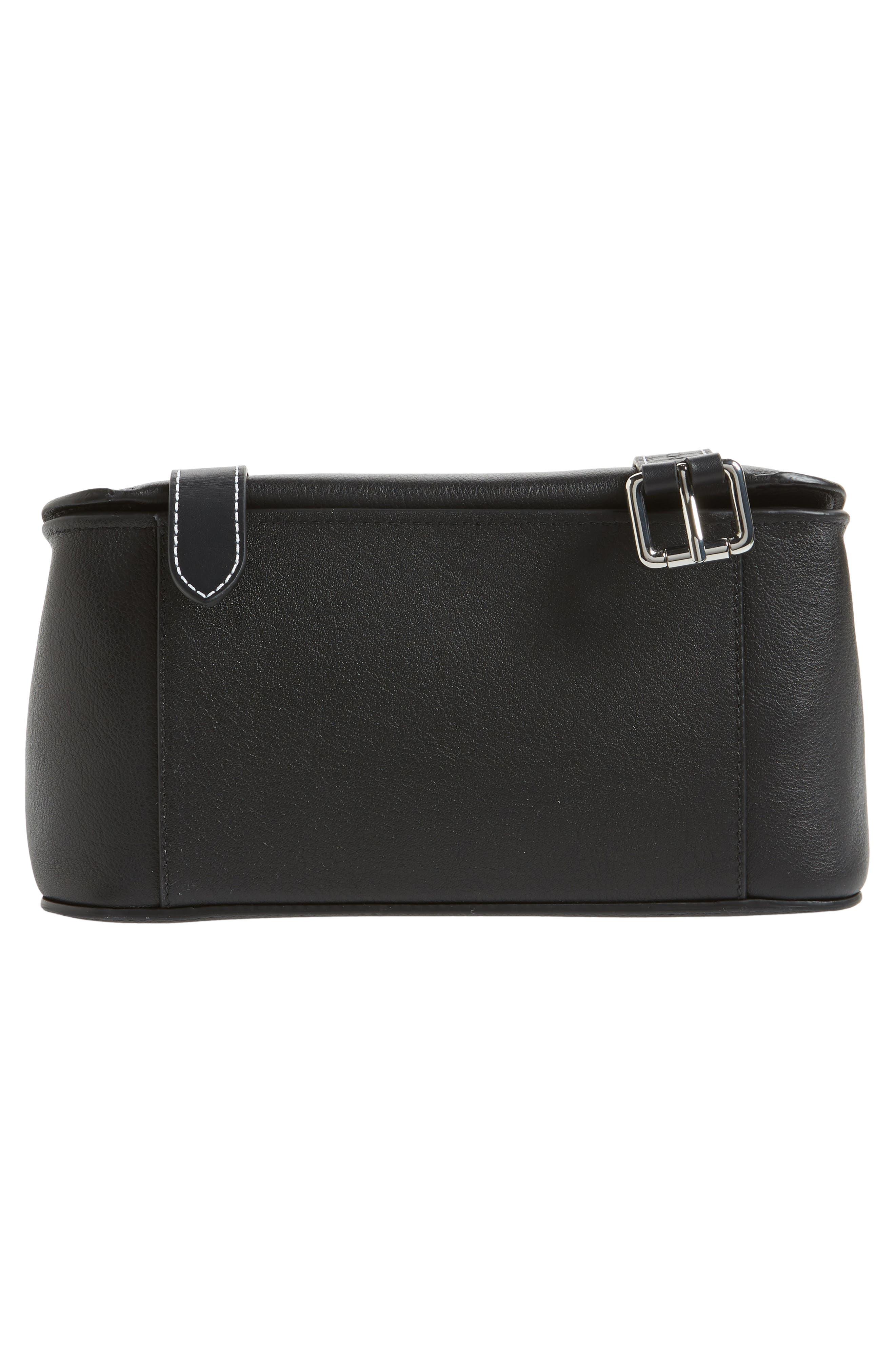 JW ANDERSON,                             Disc Leather Top Handle Satchel,                             Alternate thumbnail 6, color,                             BLACK