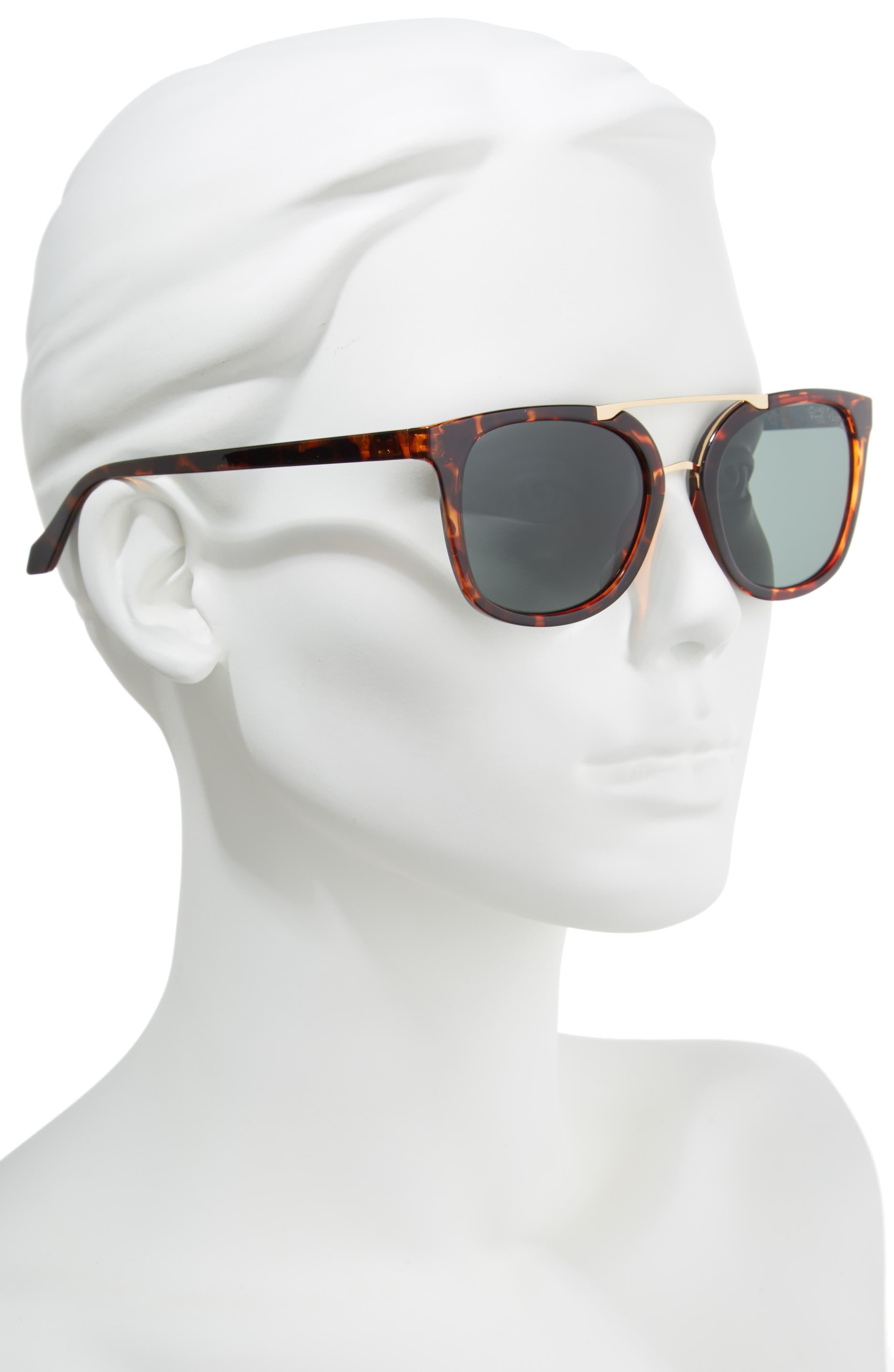 Lilly Pulitzer Emilia 53mm Polarized Sunglasses,                             Alternate thumbnail 2, color,                             DARK TORTOISE/ GREEN
