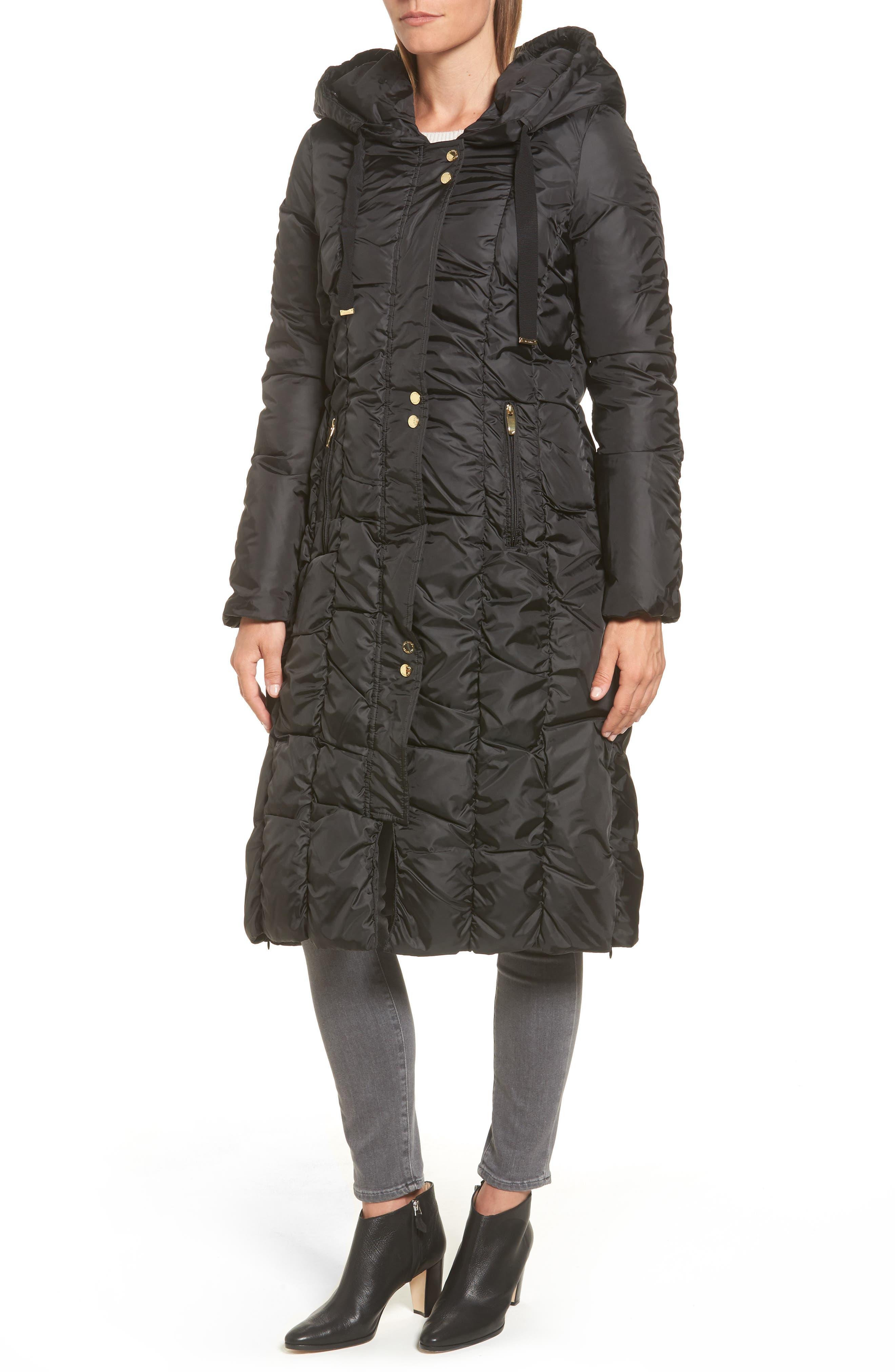 Long Faux Fur Trim Coat,                             Alternate thumbnail 4, color,                             001