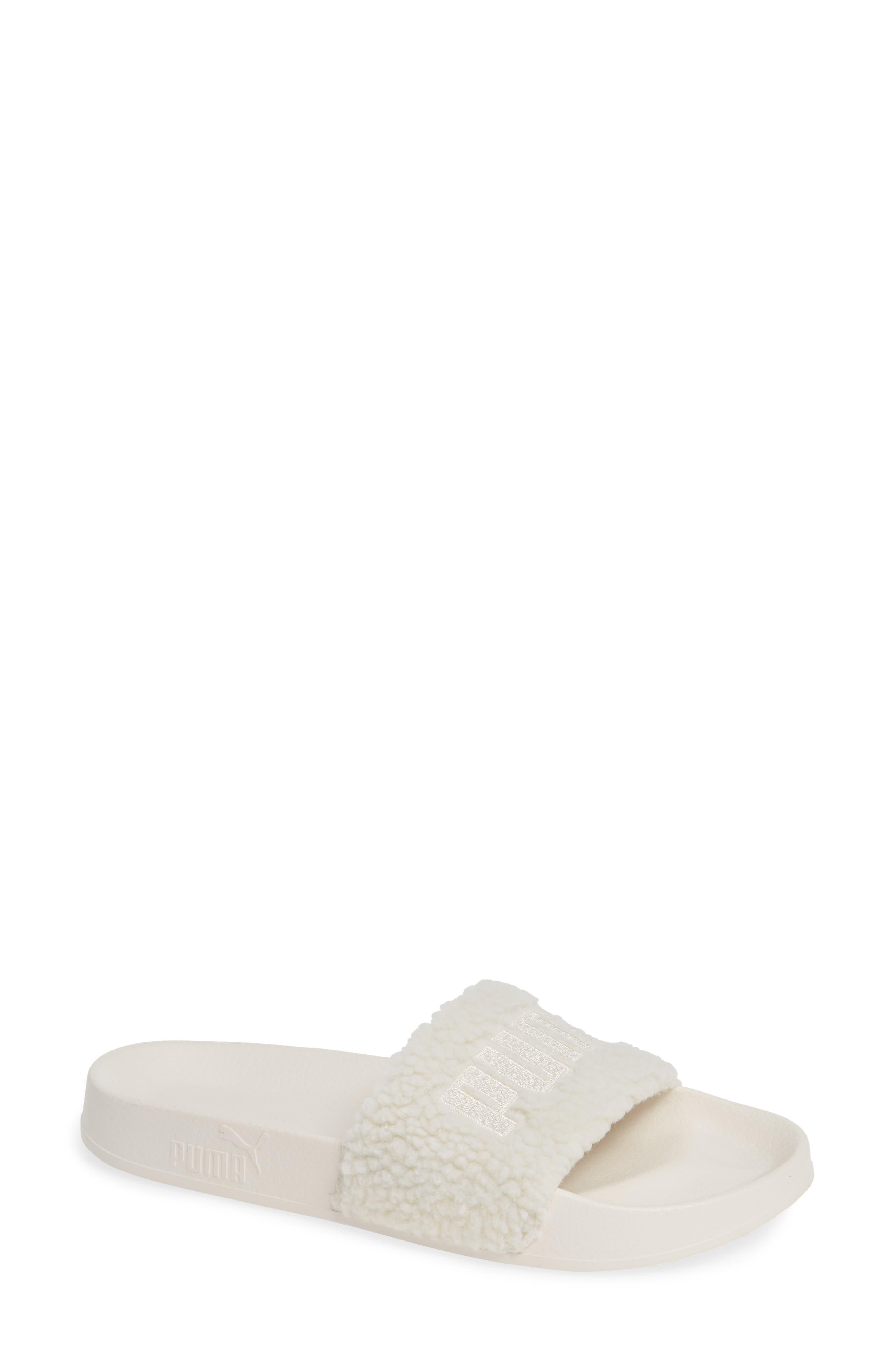 Leadcat Faux Shearling Slide Sandal,                             Main thumbnail 1, color,                             WHISPER WHITE